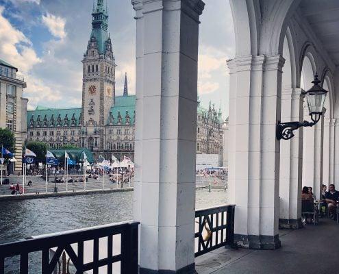 Foto Hamburg Jungfernstieg und Rathaus