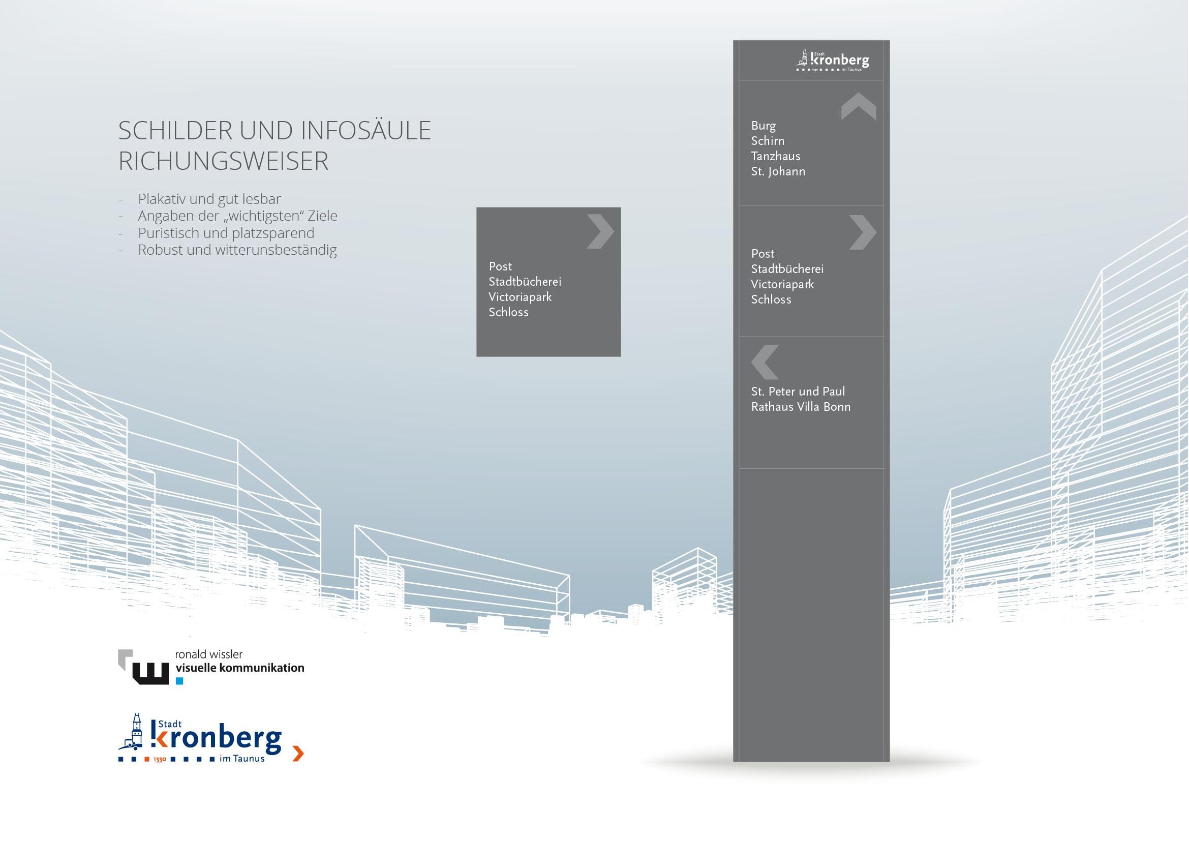 Entwicklung eines Leitsystems für die historische Altstadt von Kronberg durch Ronald Wissler Visuelle Kommunikation