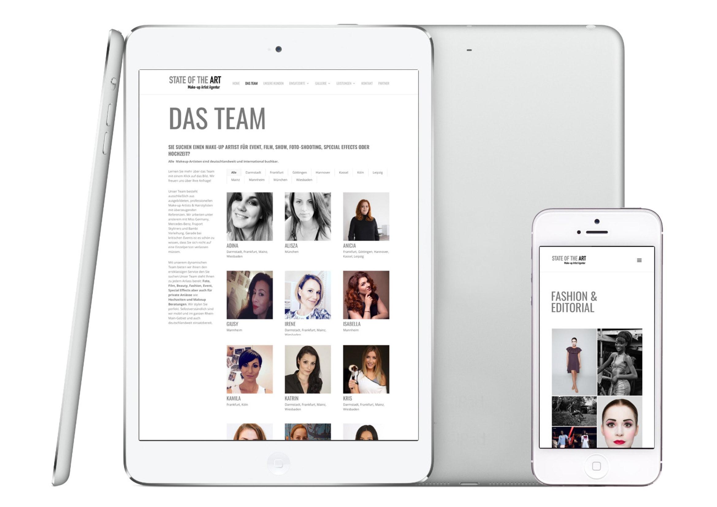 Webdesign Entwicklung Make-up Artist Agentur