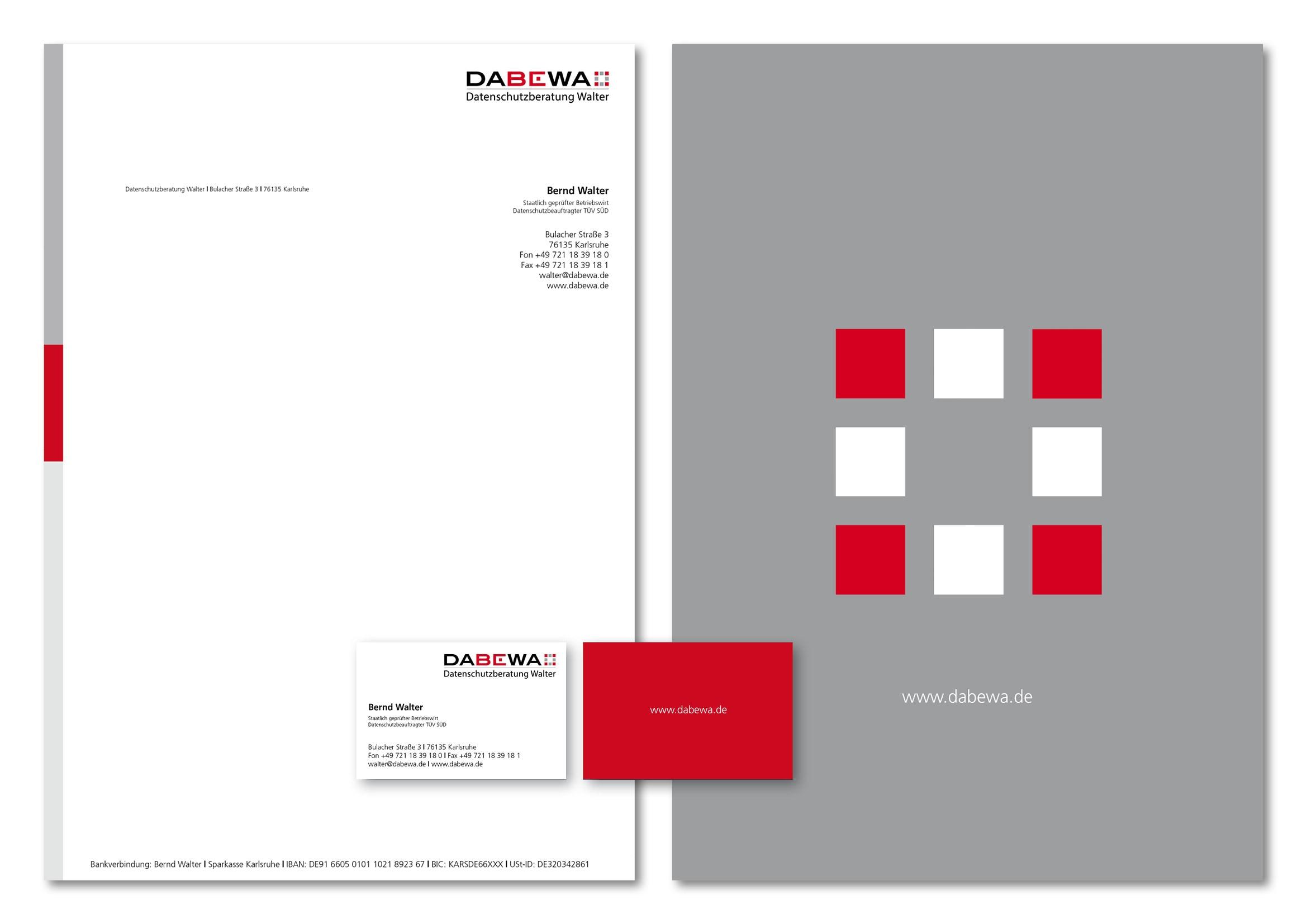 Corporate Design und Webdesign Entwicklung für DABEWA, Datenschutzberatung Bernd Walter aus Karlsruhe durch Grafik-Designer Ronald Wissler