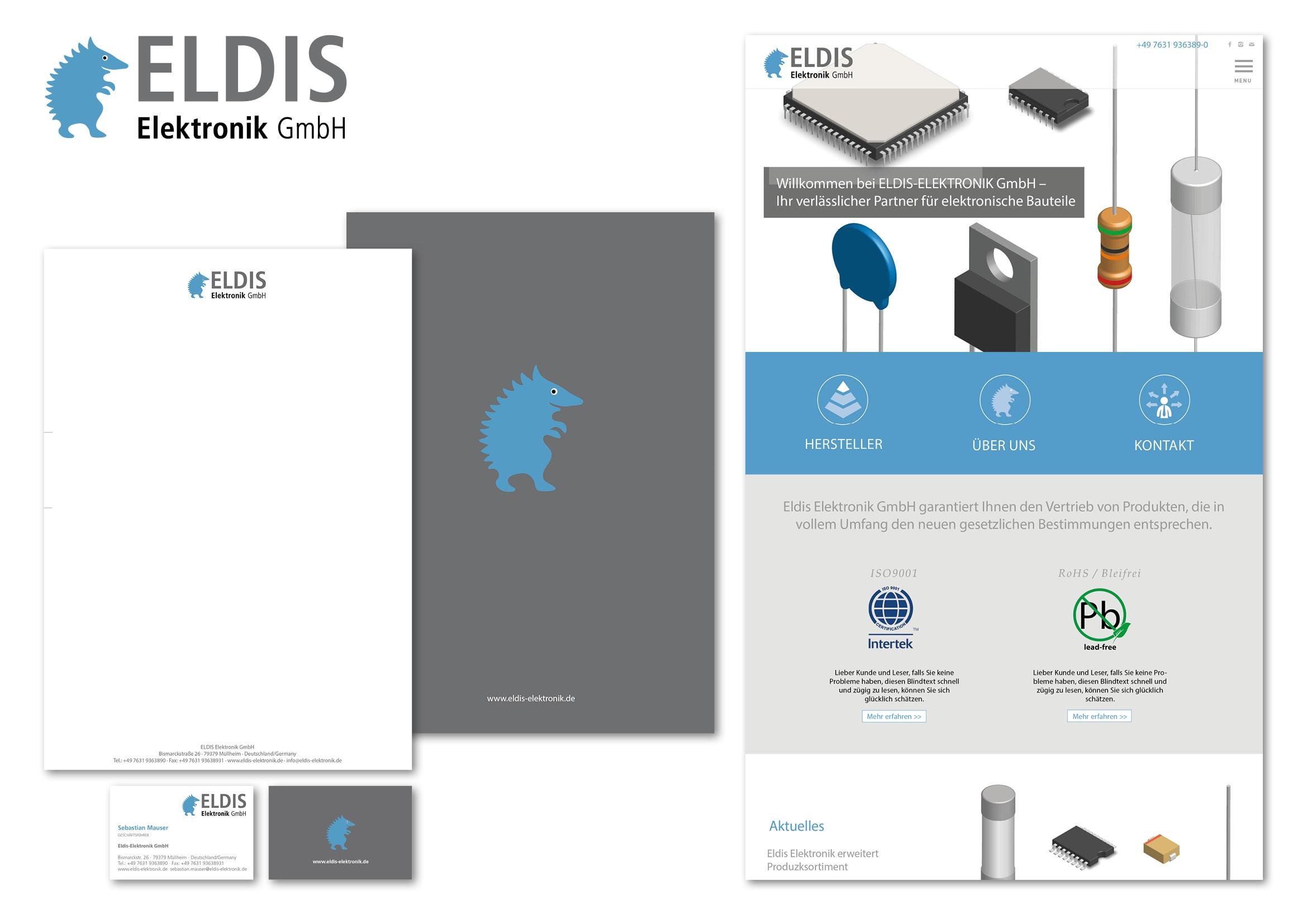 Corporate Design und Webdesign Entwicklung für Eldis Elektronik GmbH, einem Distributor von elektronischen Bauteilen durch Grafik-Designer Ronald Wissler