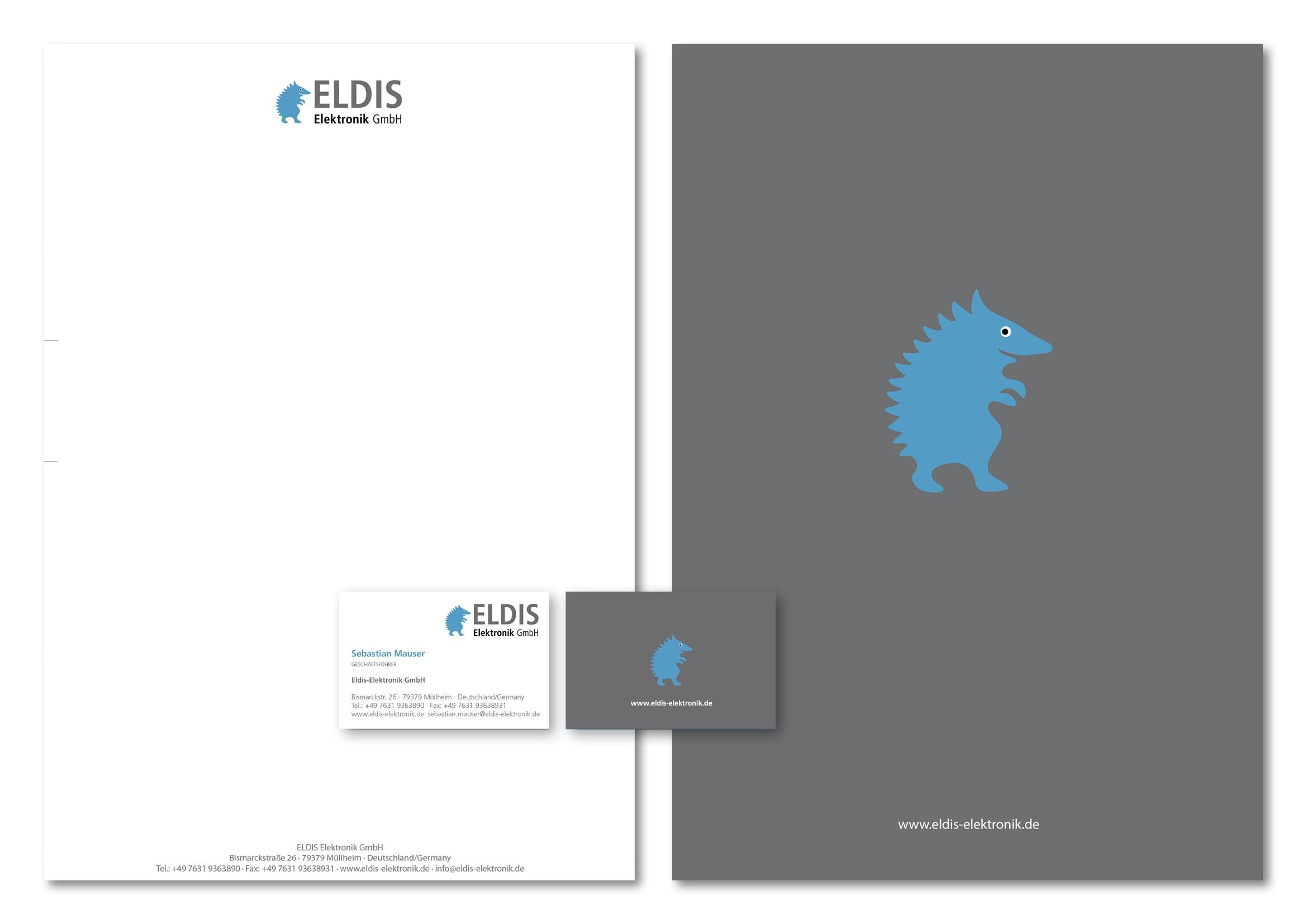 Corporate Design Entwicklung für Eldis Elektronik GmbH, einem Distributor von elektronischen Bauteilen durch Grafik-Designer Ronald Wissler