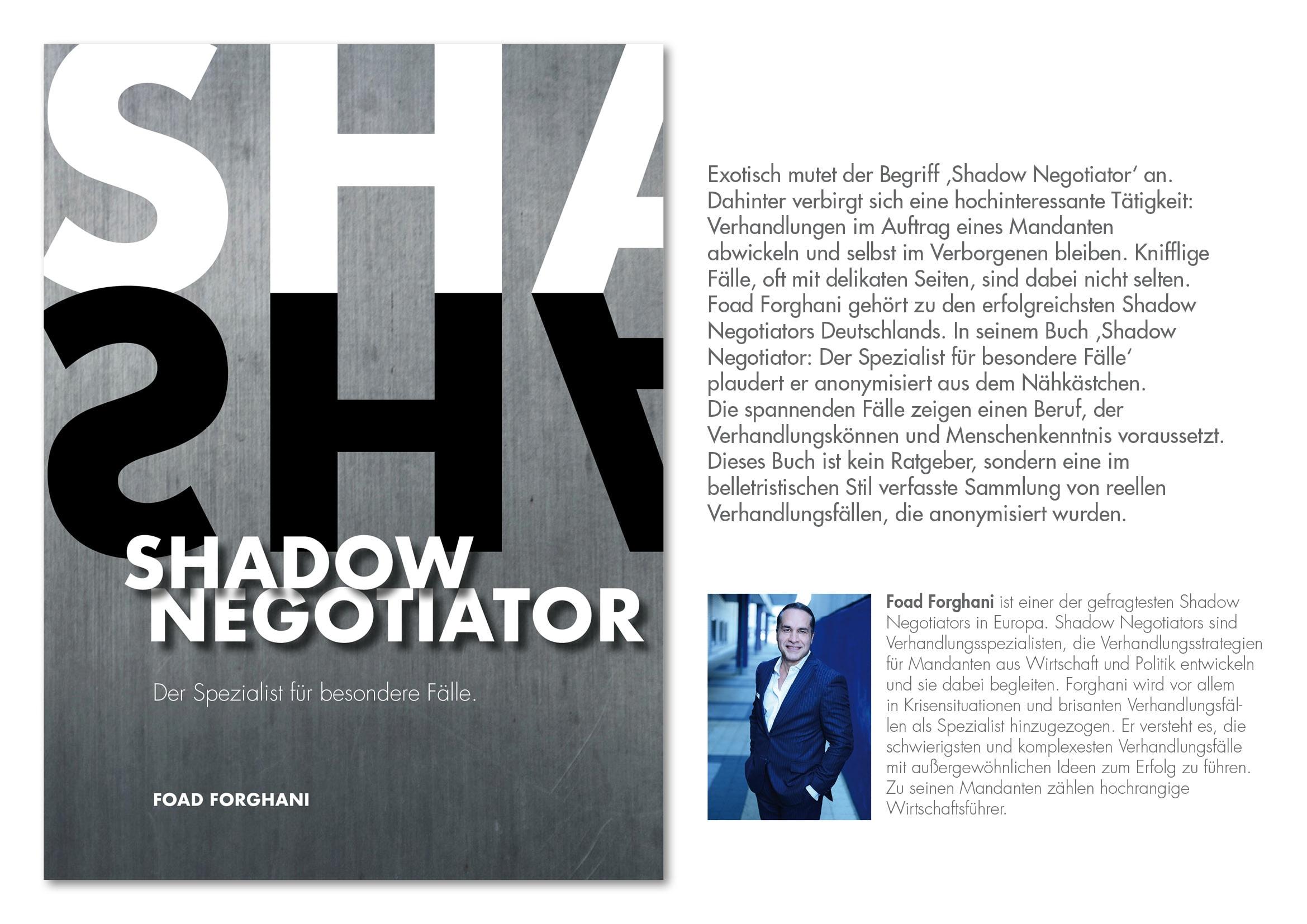 Buchcover-Design Shadow Negotiator von Autor Foad Forghani durch Grafik-Designer Ronald Wissler