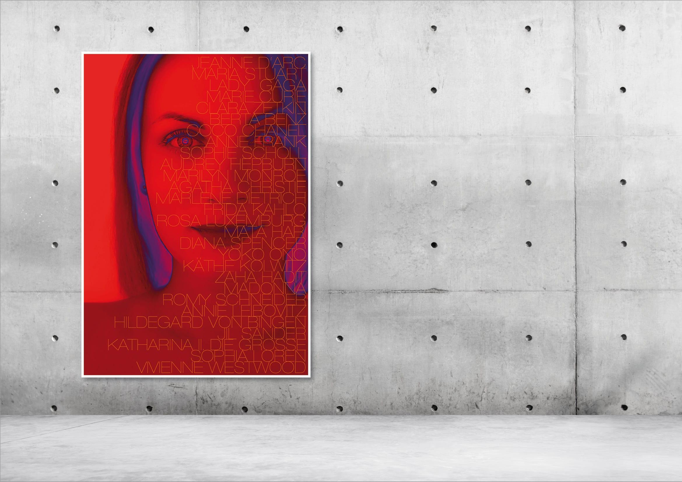 """Gestaltung Plakat / Poster Kunstprojekt zum Weltfrauentag durch Designer Ronald Wissler sowie aktive Beteiligung an der Vernissage zur Ausstellung """"Besondere Frauen"""""""