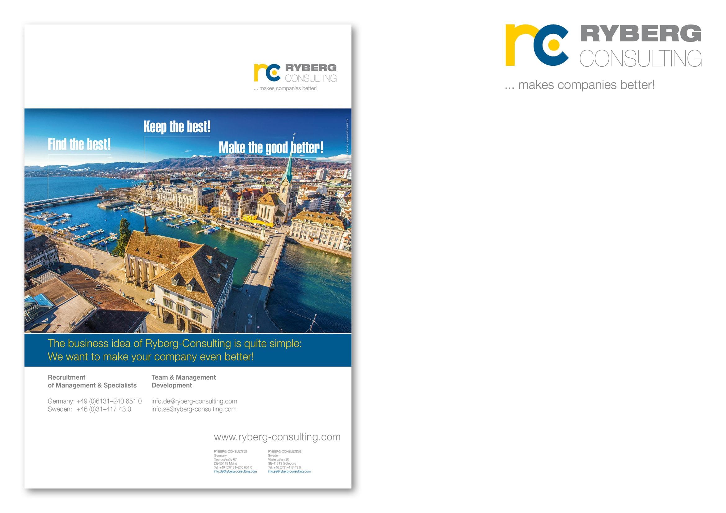 """Entwicklung Anzeigenmotiv Zürich für die Anzeigenkampagne """"Find the Best!"""" für die Personalberatung Ryberg Consulting durch Grafik-Designer Ronald Wissler"""