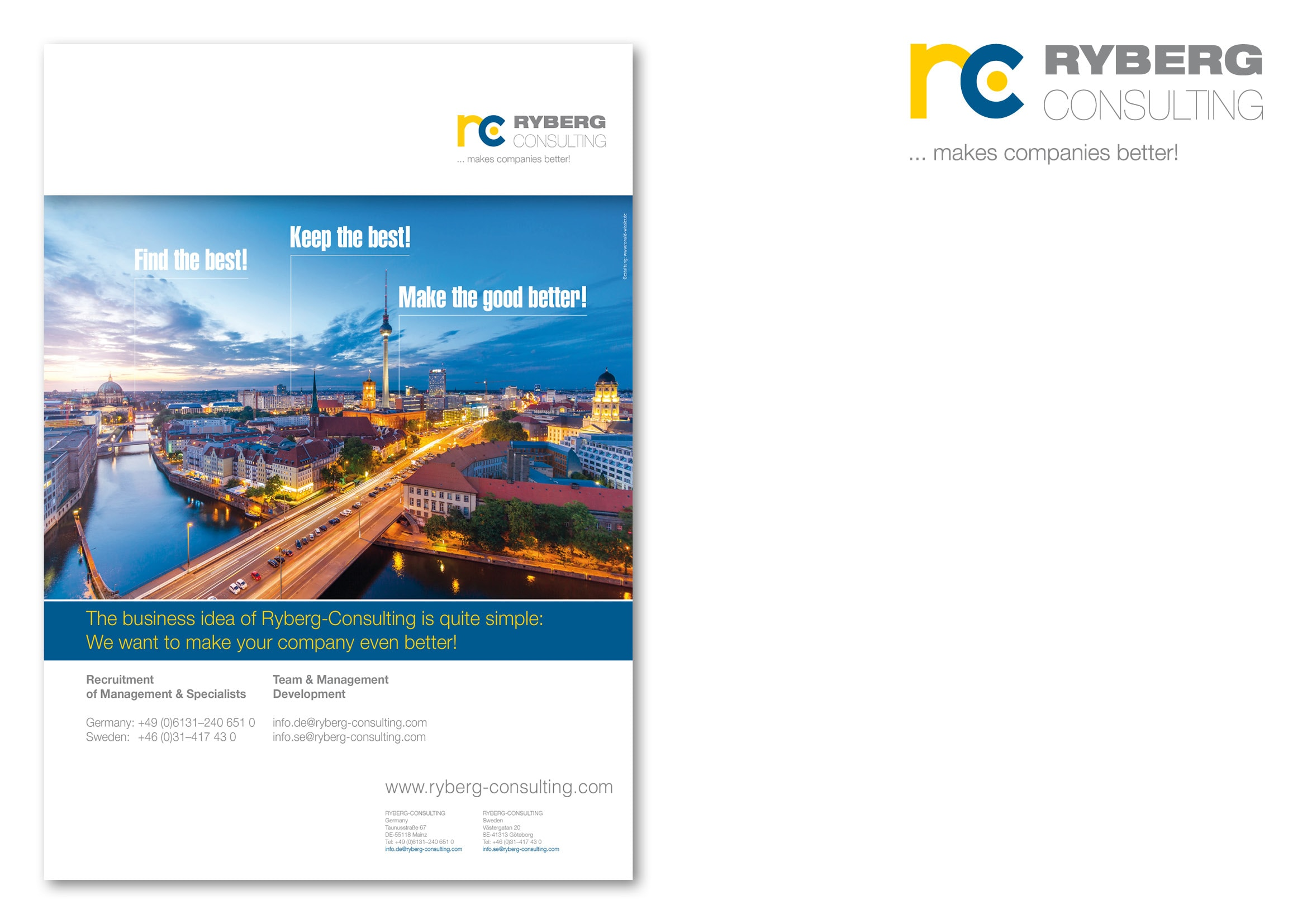 """Entwicklung Anzeigenmotiv Berlin für die Anzeigenkampagne """"Find the Best!"""" für die Personalberatung Ryberg Consulting durch Grafik-Designer Ronald Wissler"""
