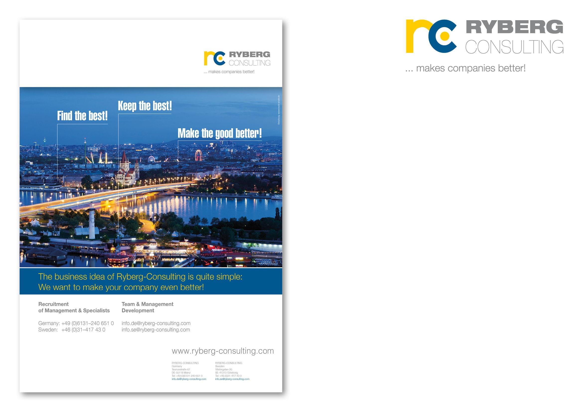 """Entwicklung Anzeigenmotiv Wien für die Anzeigenkampagne """"Find the Best!"""" für die Personalberatung Ryberg Consulting durch Grafik-Designer Ronald Wissler"""