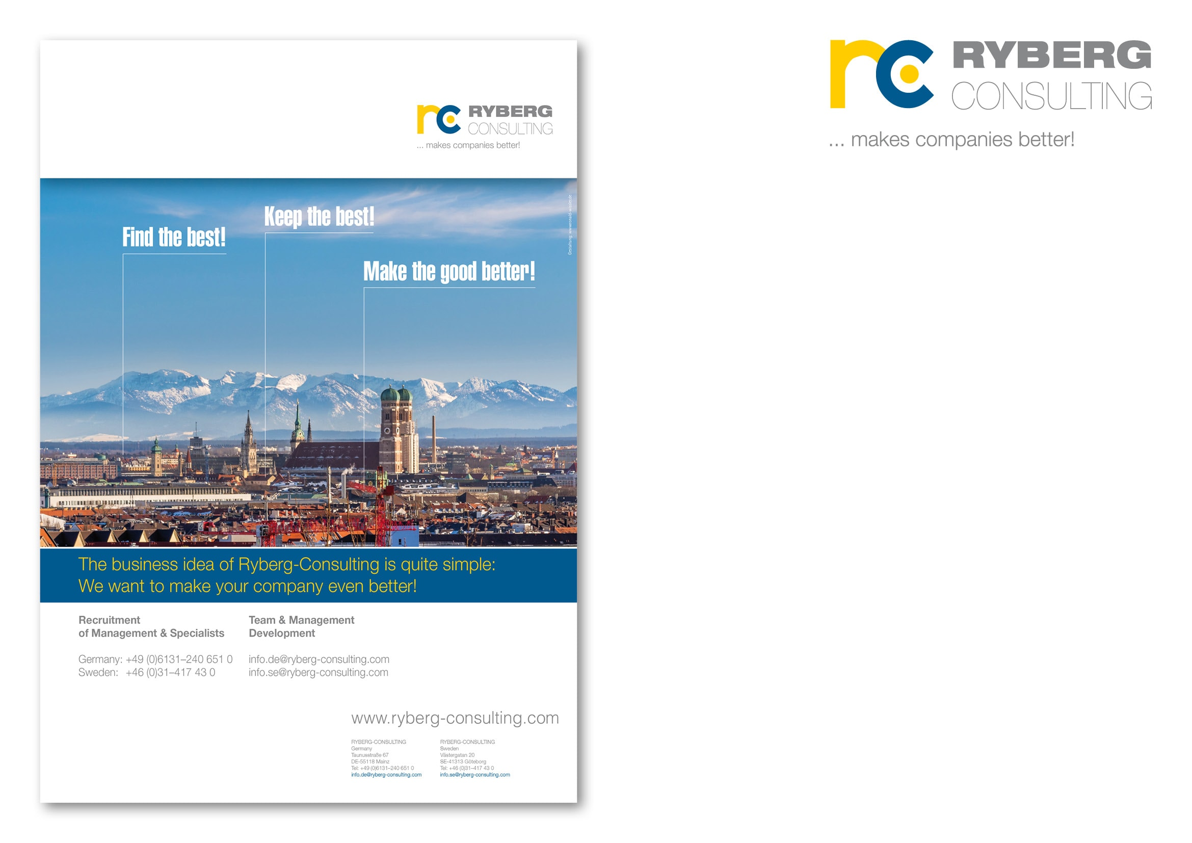 """Entwicklung Anzeigenmotiv München für die Anzeigenkampagne """"Find the Best!"""" für die Personalberatung Ryberg Consulting durch Grafik-Designer Ronald Wissler"""