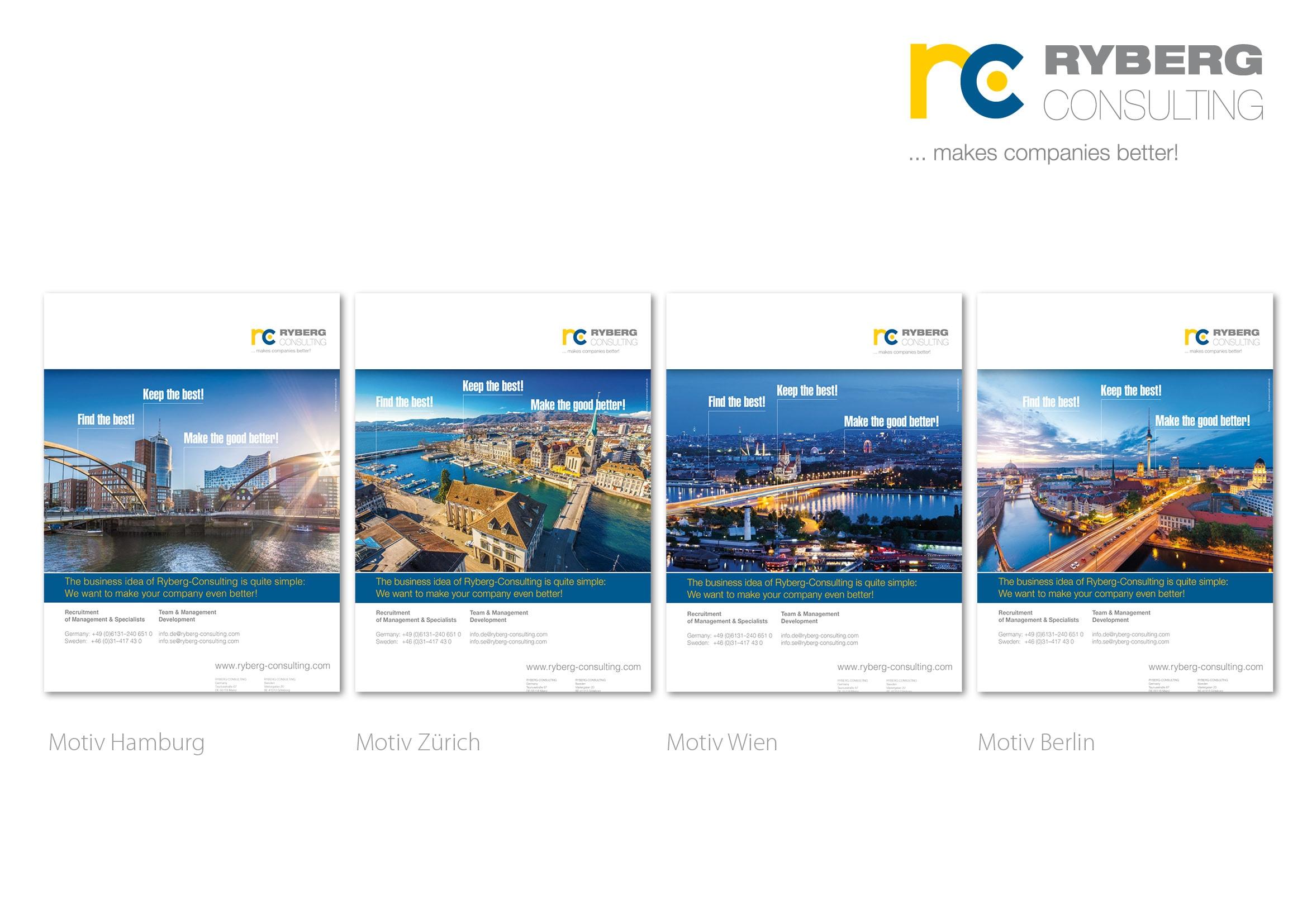 """Entwicklung Anzeigenmotive für die Anzeigenkampagne """"Find the Best!"""" für die Personalberatung Ryberg Consulting durch Grafik-Designer Ronald Wissler"""