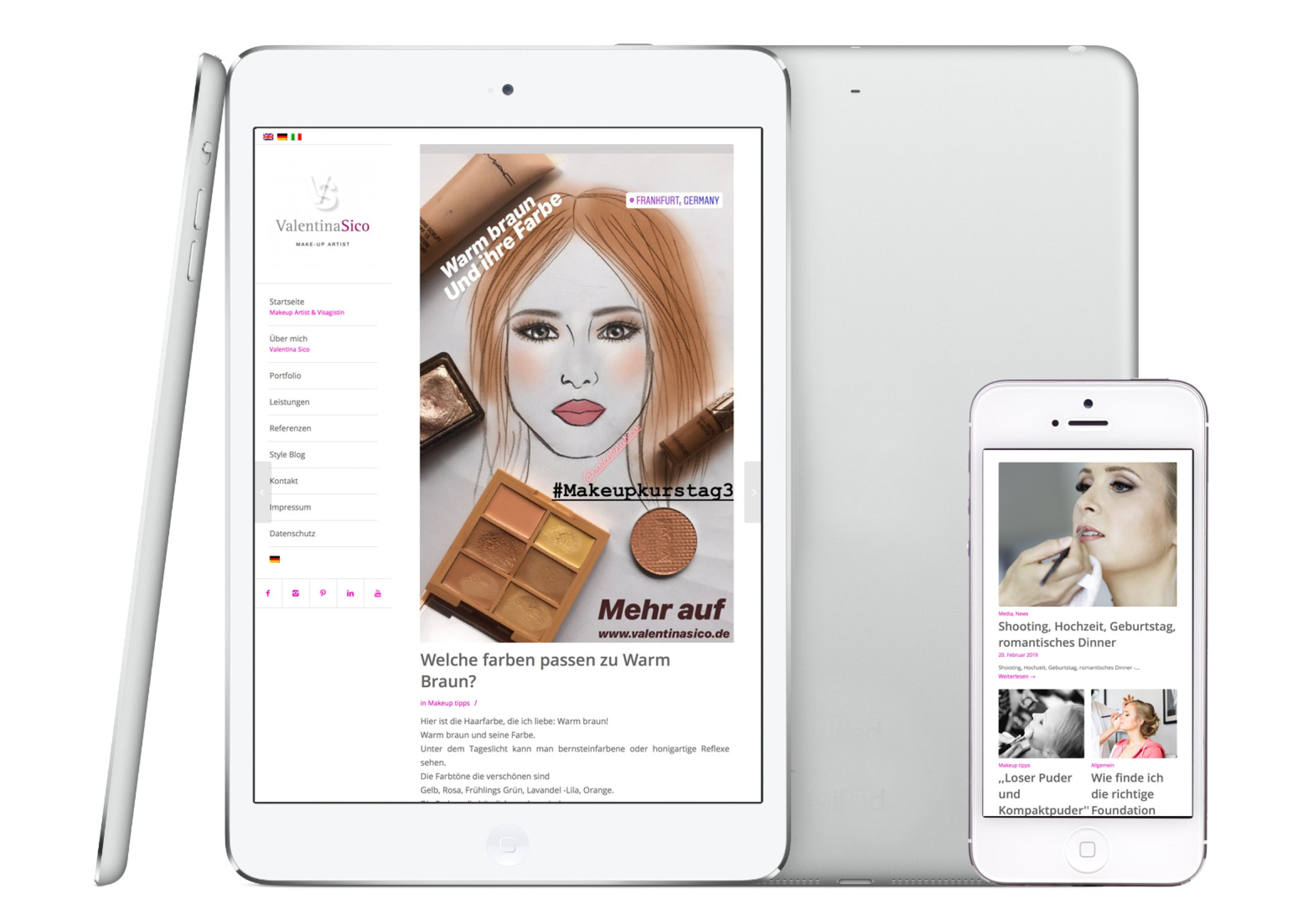 Webdesign Entwicklung Style Blog Visagistin, Make-up Artist und Hairstylistin