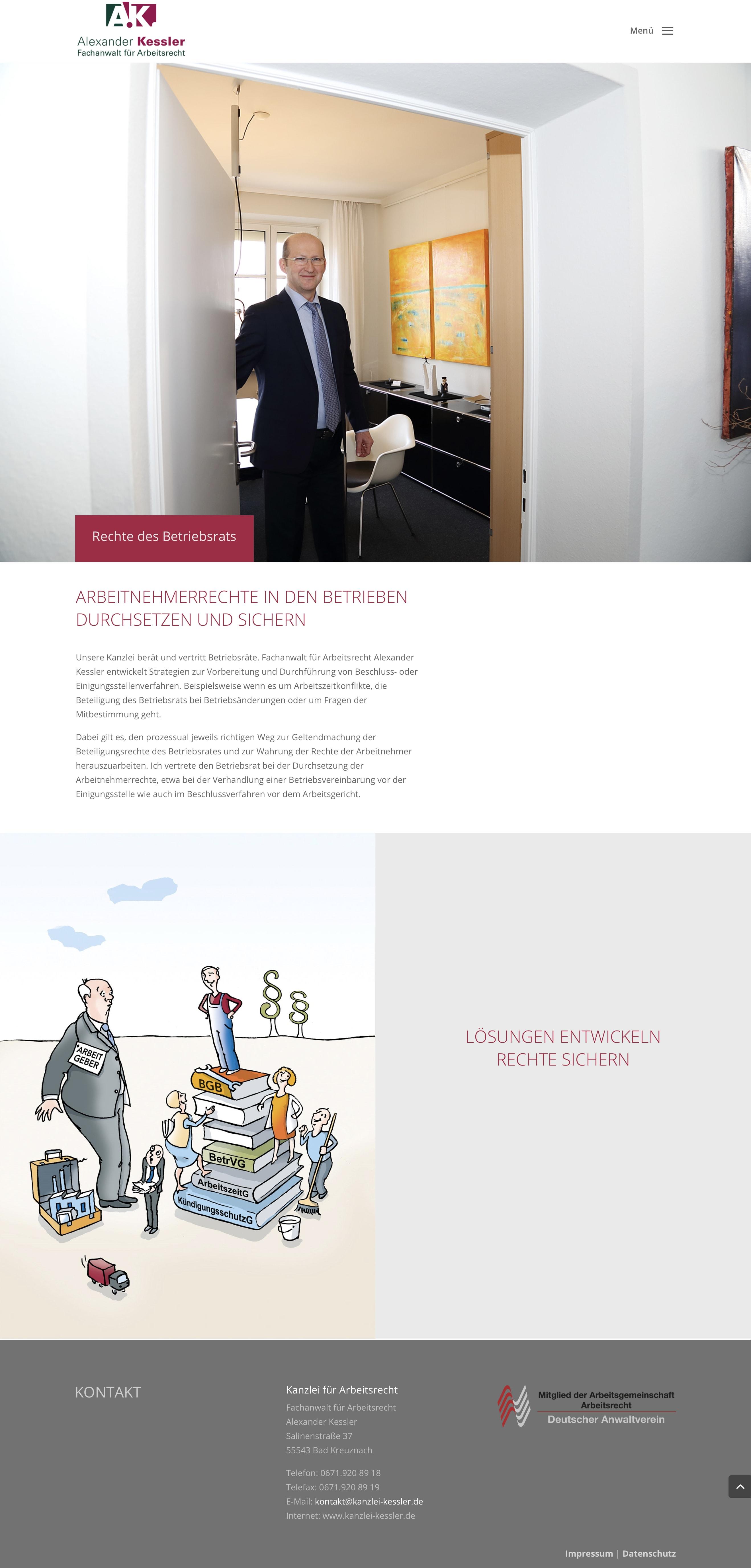 Homepage Entwicklung und Texterstellung für Fachanwalt für Arbeitsrecht durch Webdesigner Ronald Wissler