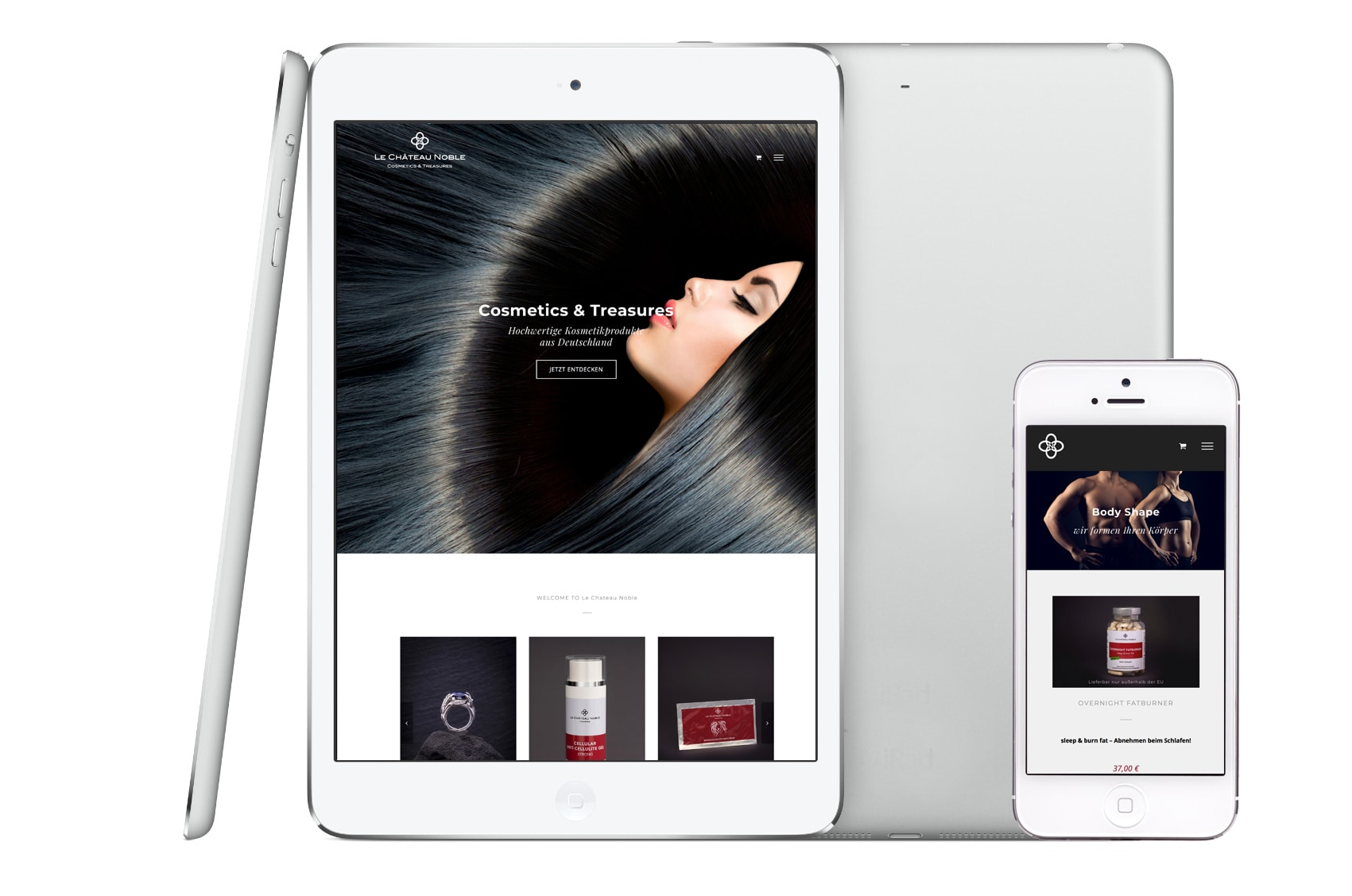 Gestaltung und Programmierung einer Internetseite und Onlineshop für Le Chateau Noble