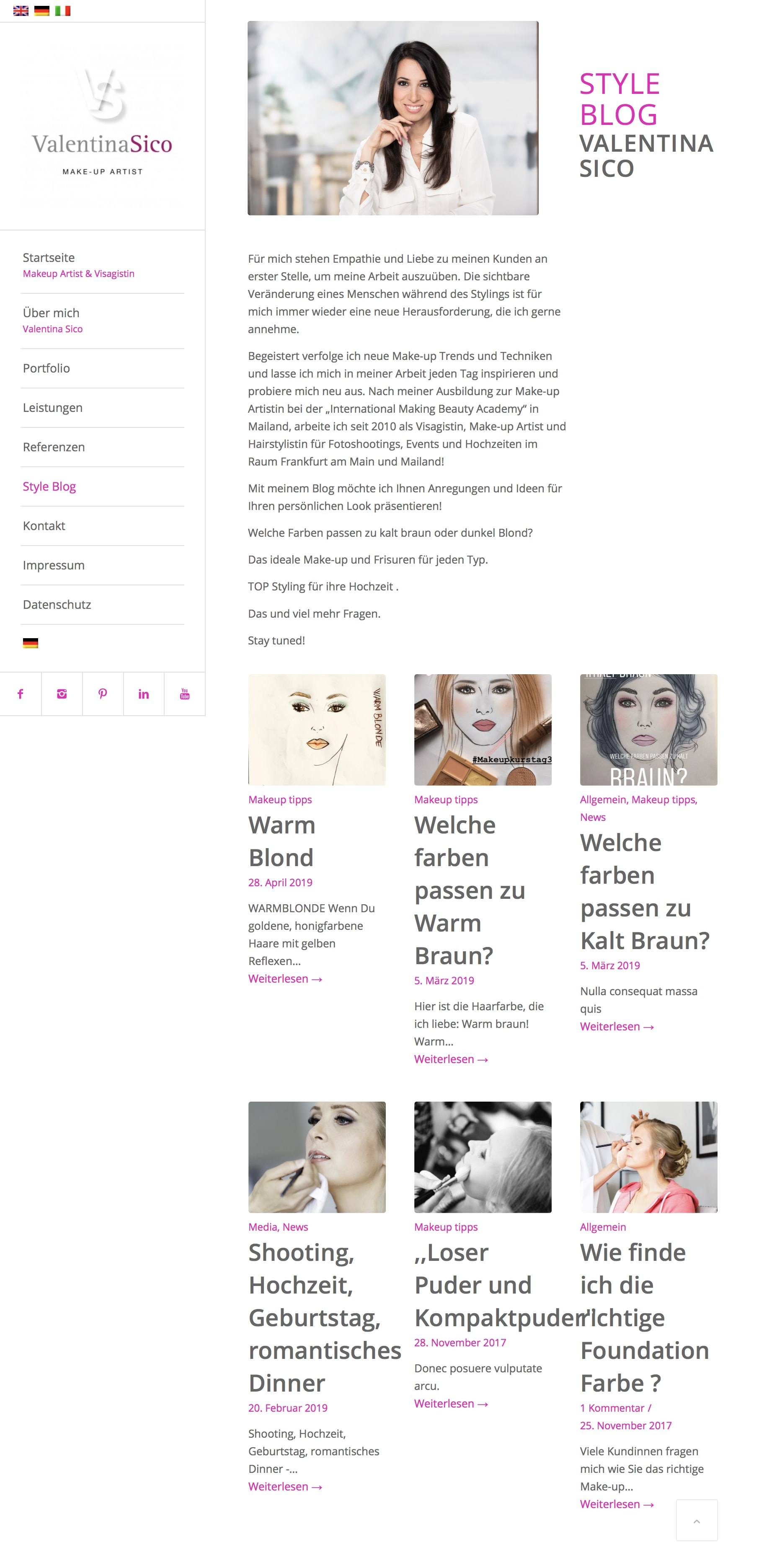 Webdesign Style Blog Visagistin, Make-up Artist und Hairstylistin Valentina Sico durch Webdesigner Ronald Wissler Frankfurt