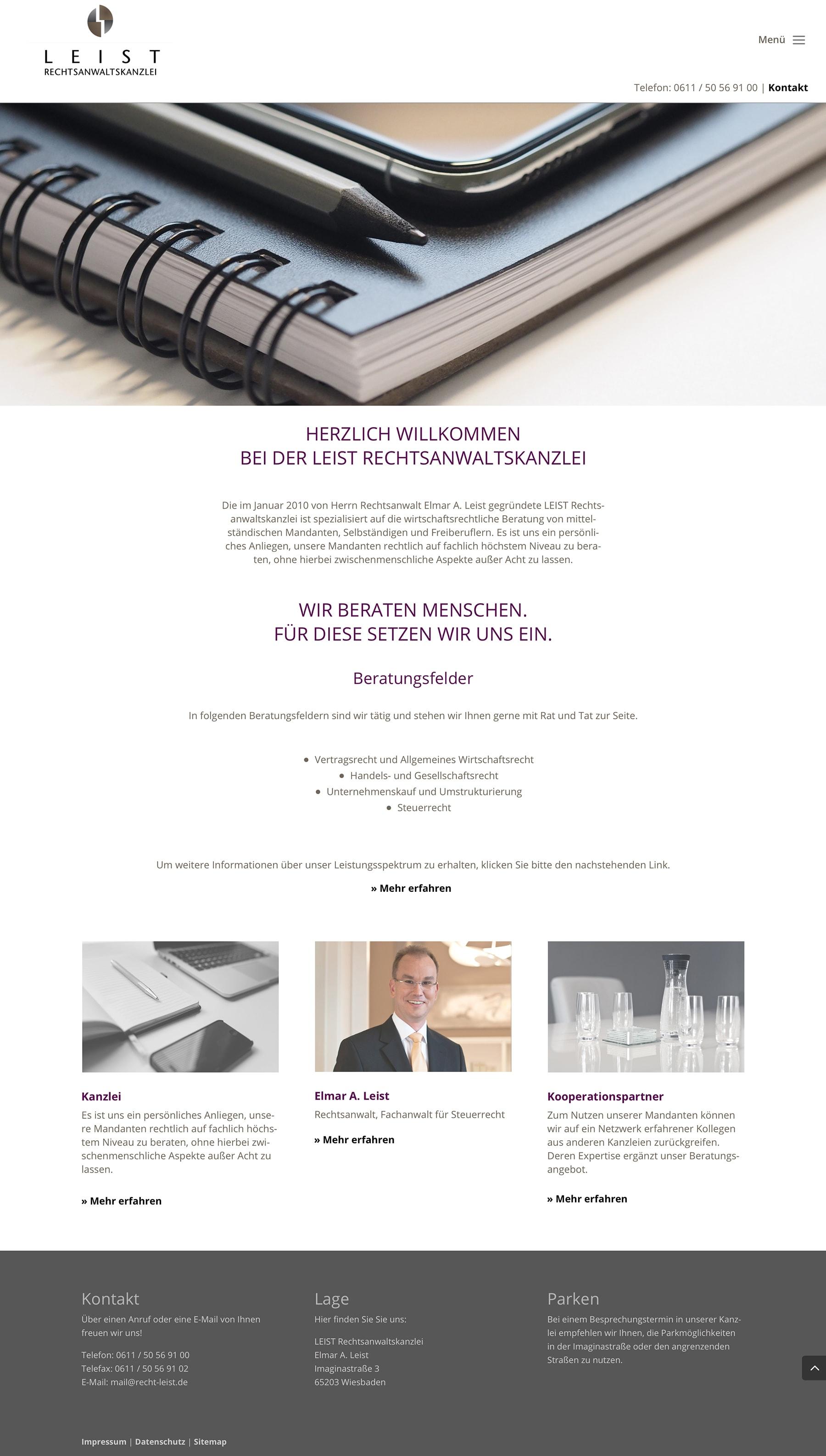 Webdesign Entwicklung für Rechtsanwaltskanzlei durch Grafik-Designer Ronald Wissler