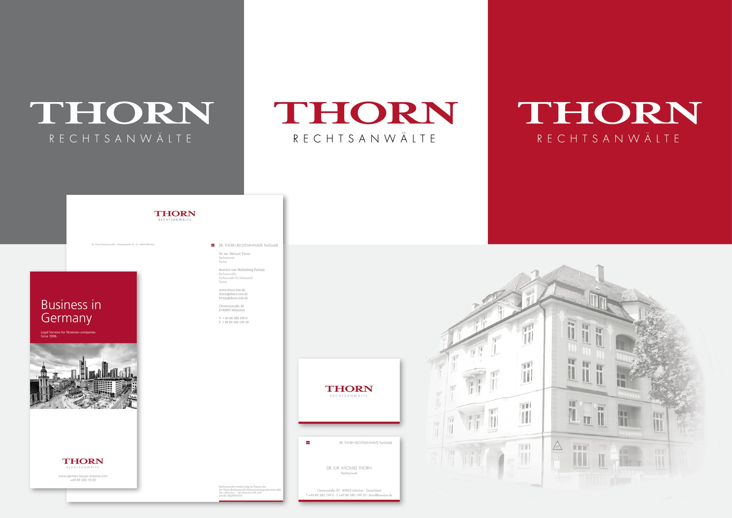 Corporate Design Entwicklung für DR. THORN RECHTSANWÄLTE PartGmbB Grafik-Designer durch Ronald Wissler