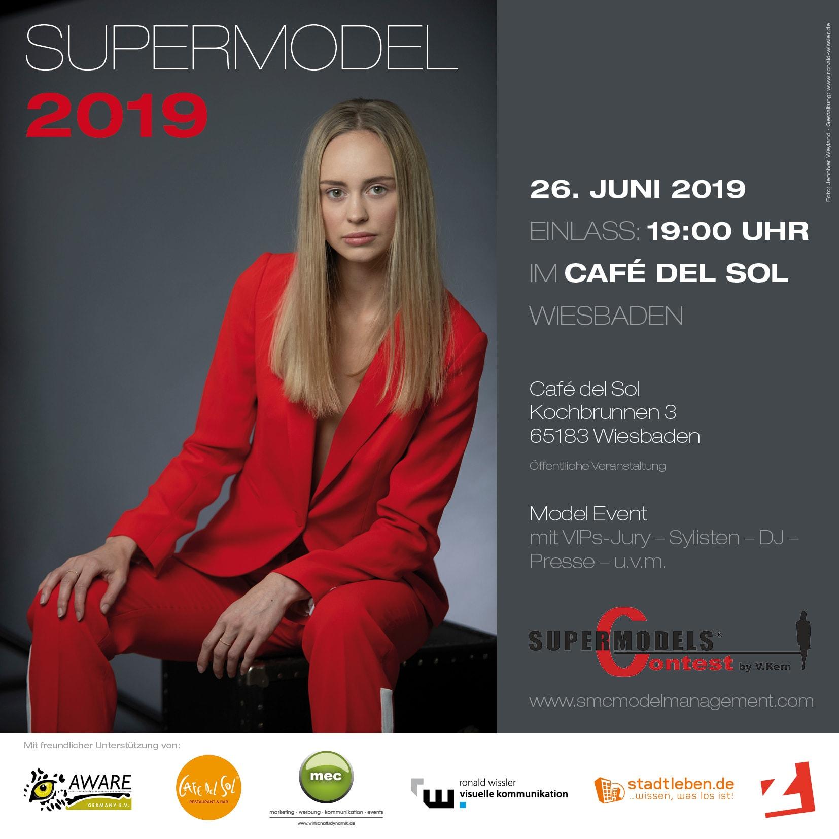 Einladungs-Flyer für Supermodel Contest 2019 durch Grafik-Designer Ronald Wissler