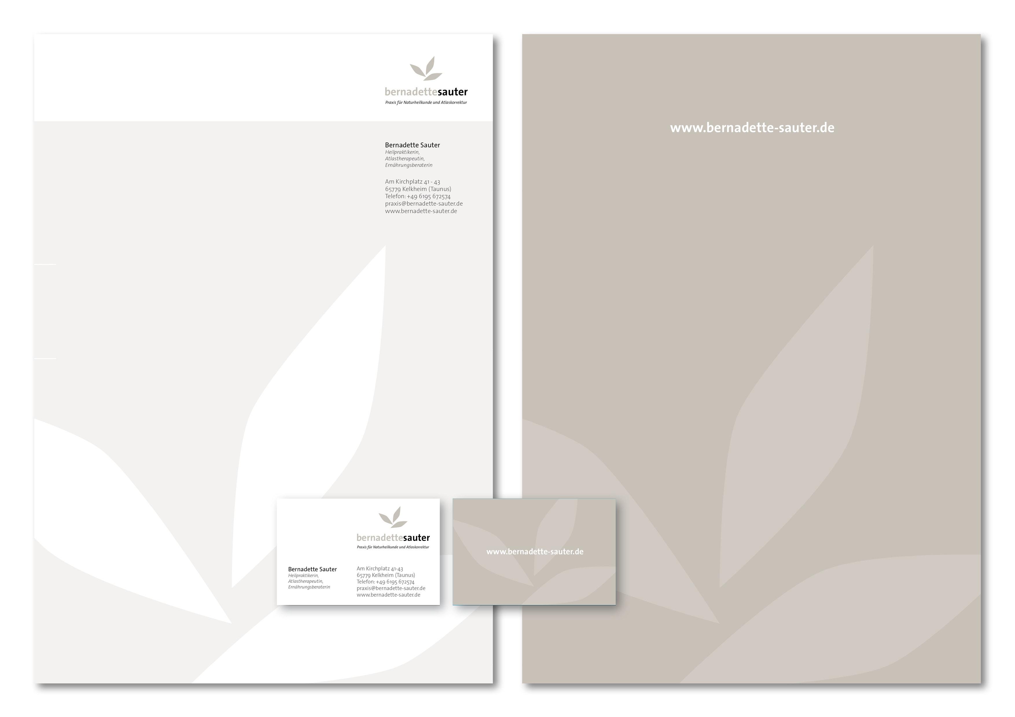 Corporate Design Entwicklung und Programmierung Homepage für Bernadette Sauter, Praxis für Naturheilkunde und Atlaskorrekturdurch Grafik-Designer Ronald Wissler