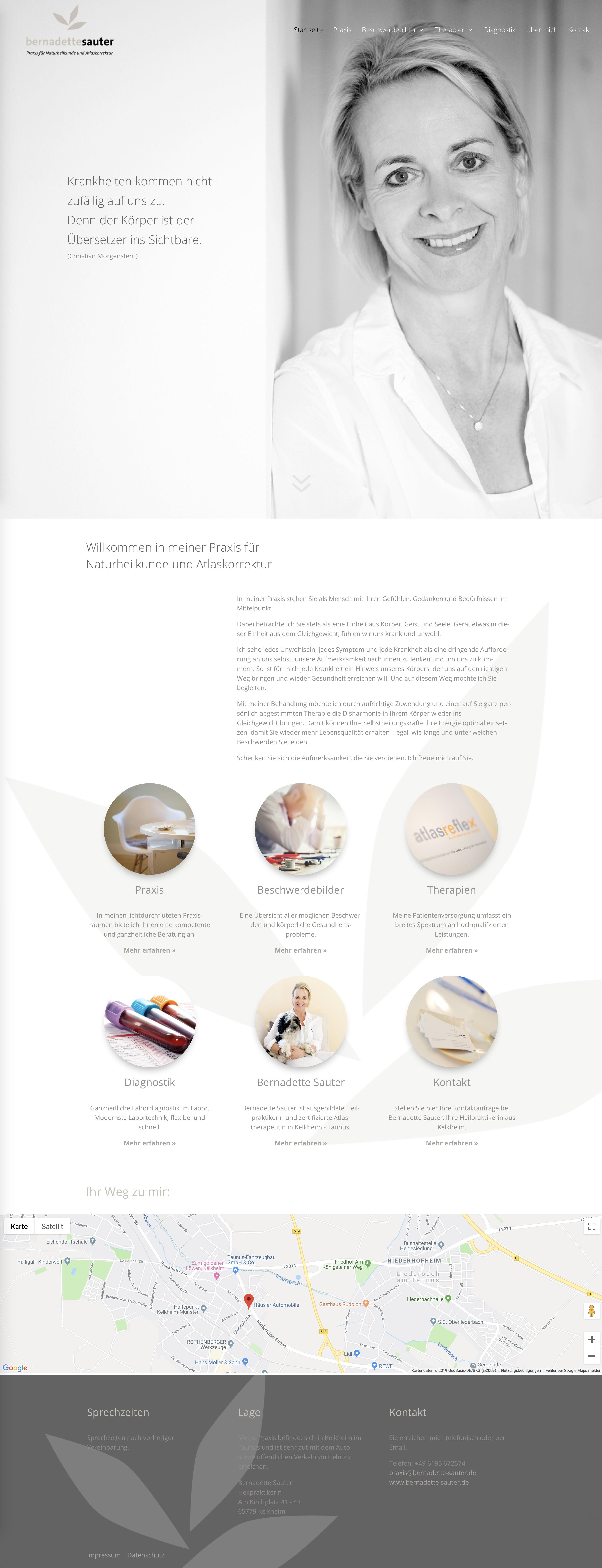 Webdesign Entwicklung und Programmierung Homepage für Bernadette Sauter, Praxis für Naturheilkunde und Atlaskorrekturdurch Webdesigner Ronald Wissler