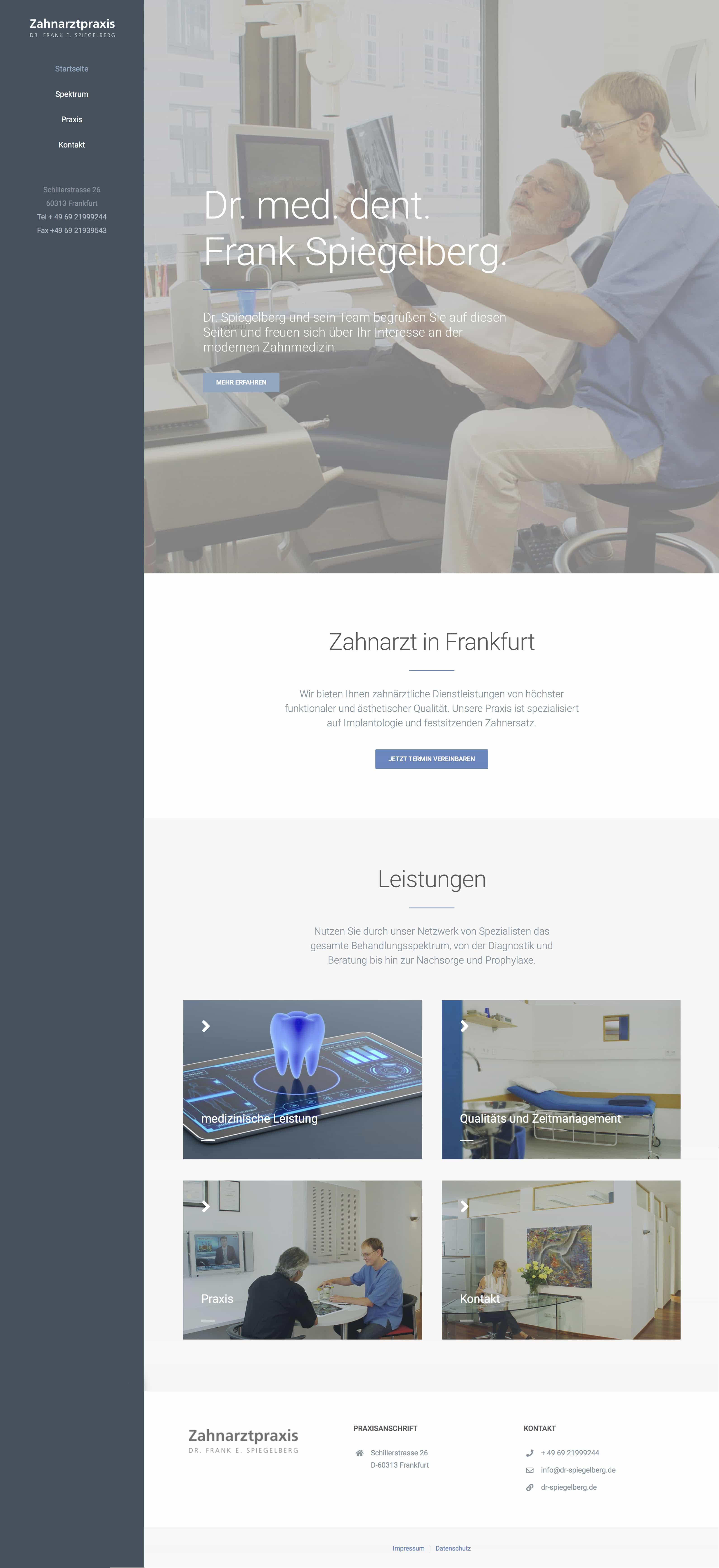 Homepage Entwicklung für Praxis Dr. Frank Spiegelberg durch Ronald Wissler Visuelle Kommunikation
