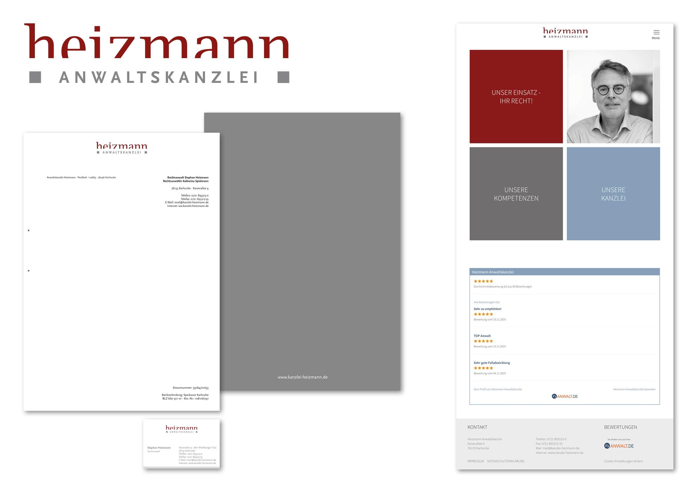 Corporate Design und Webdesign Entwicklung für Anwaltskanzlei Heizmann