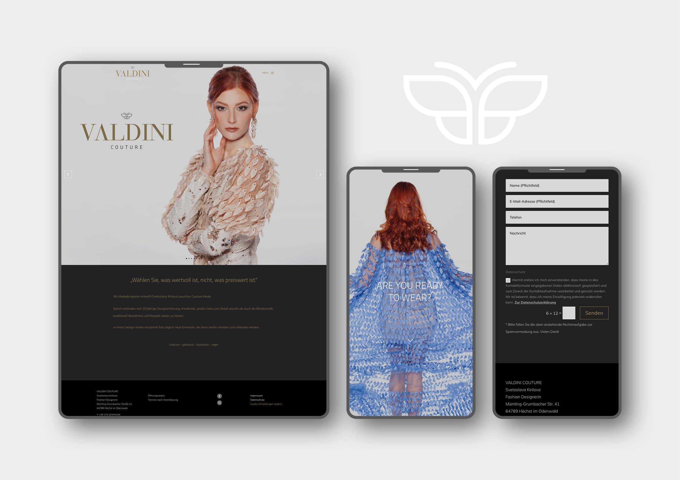 Webdesign Entwicklung für Valdini Couture durch Ronald Wissler Visuelle Kommunikation