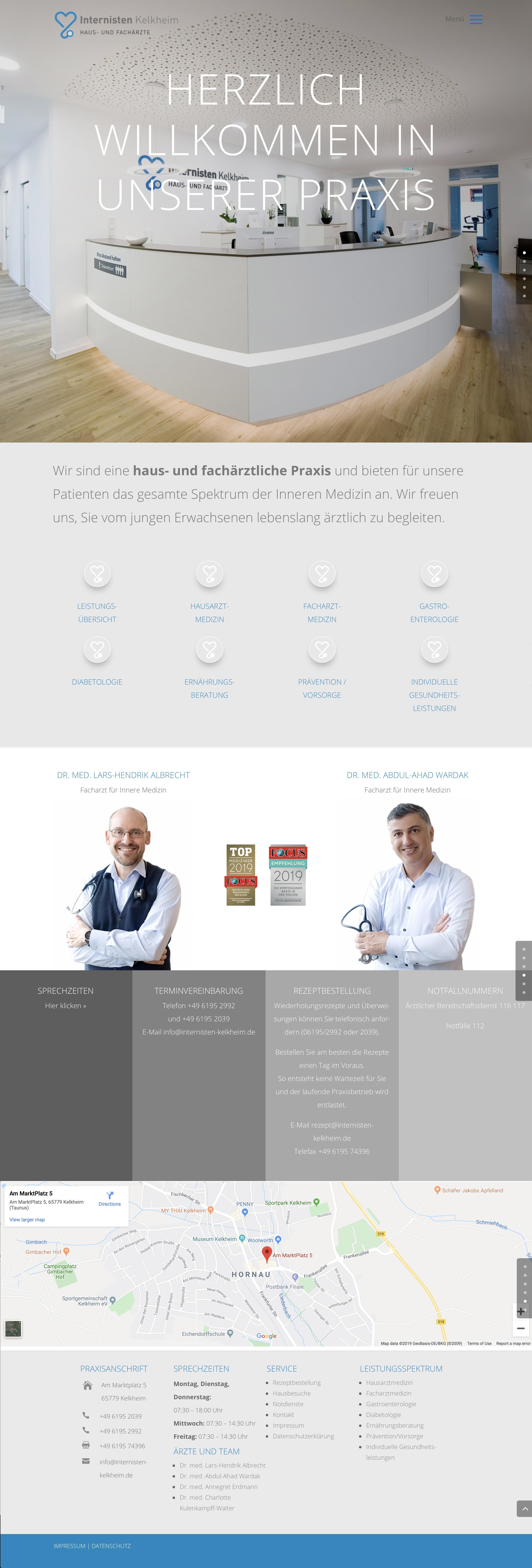 Homepage Entwicklung für Internisten Praxis durch Ronald Wissler | Visuelle Kommunikation