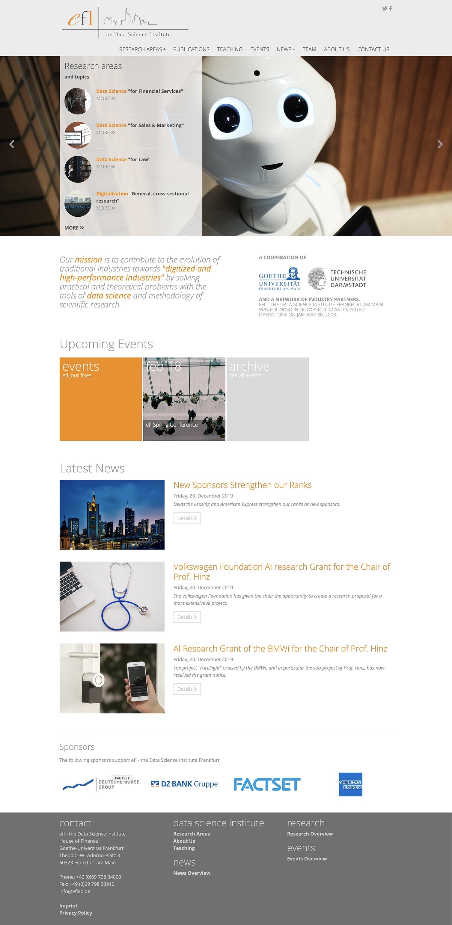 Entwicklung einer Typo3 Website für E-Finance Lab der Johann Wolfgang Goethe-Universität Frankfurt Startseite durch Ronald Wissler Visuelle Kommunikation