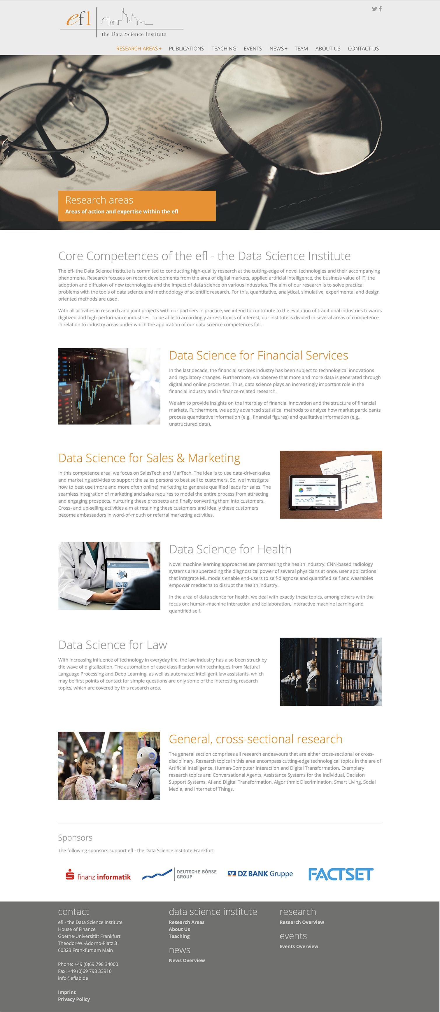 Entwicklung einer Typo3 Website für E-Finance Lab der Johann Wolfgang Goethe-Universität Frankfurt Research Area