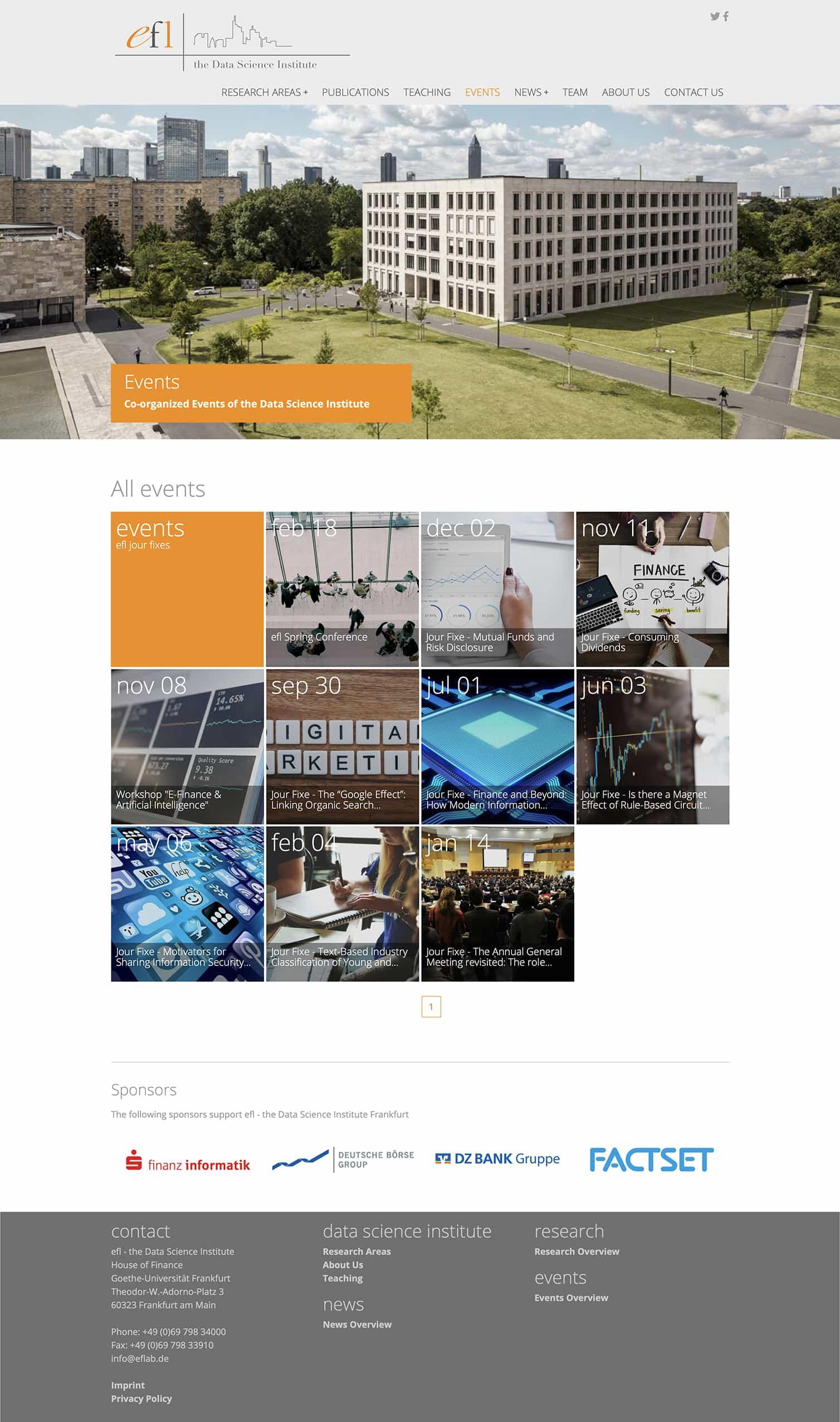 Entwicklung einer Typo3 Website für E-Finance Lab der Johann Wolfgang Goethe-Universität Frankfurt Events durch Ronald Wissler Visuelle Kommunikation