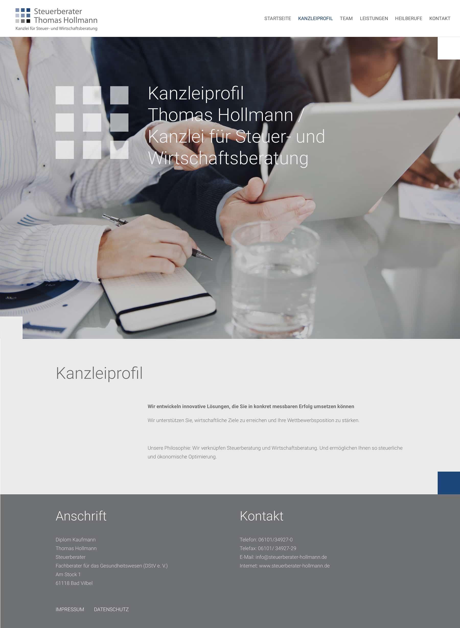 Homepage Entwicklung für Steuerberatungskanzlei durch Webdesigner Ronald Wissler
