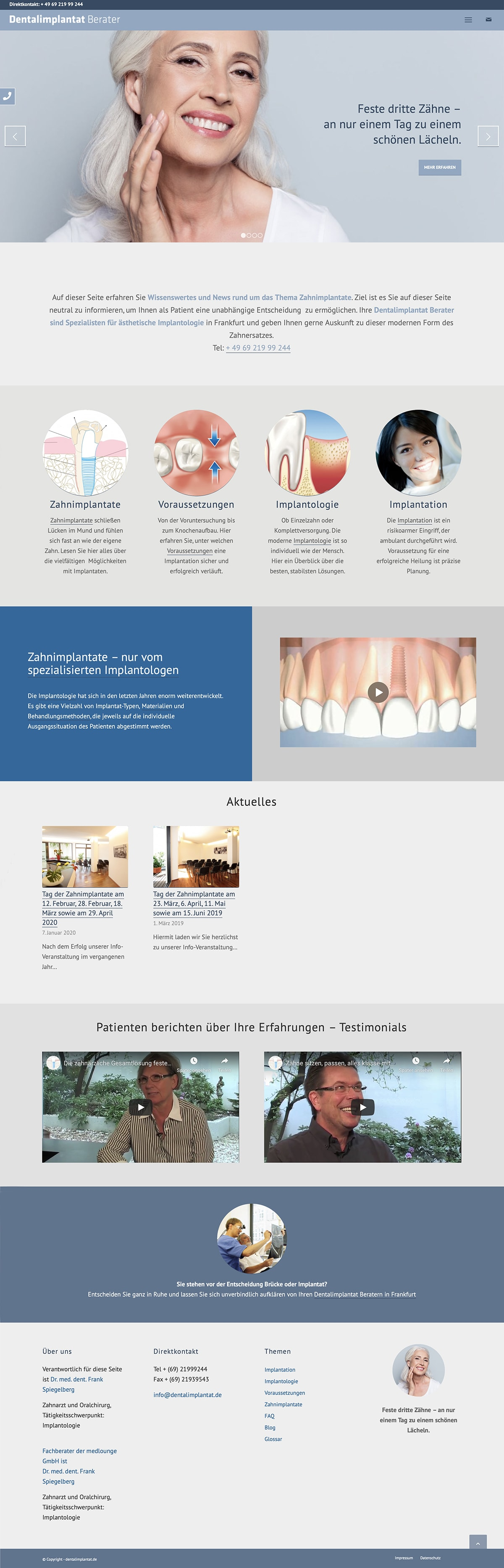 Webdesign Entwicklung für Zahnimplantat Berater durch Ronald Wissler Visuelle Kommunikation