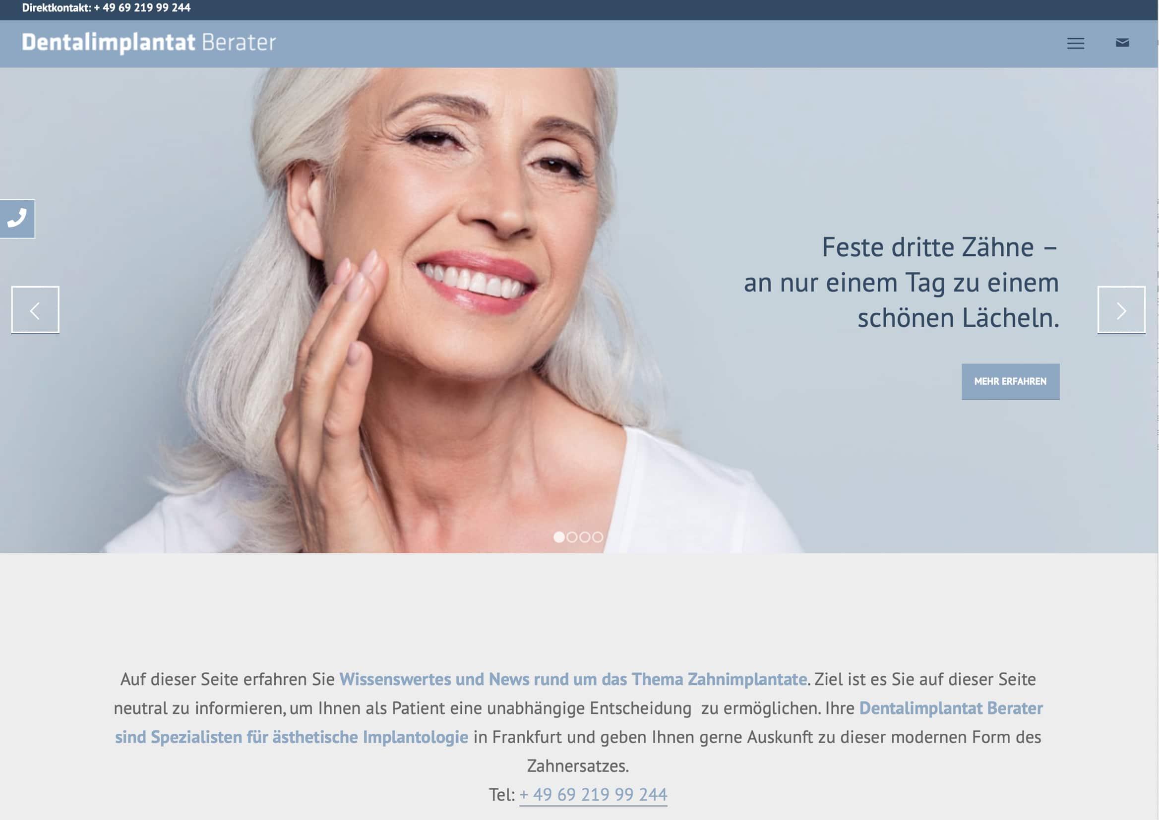 Homepage Entwicklung für Zahnimplantat Berater