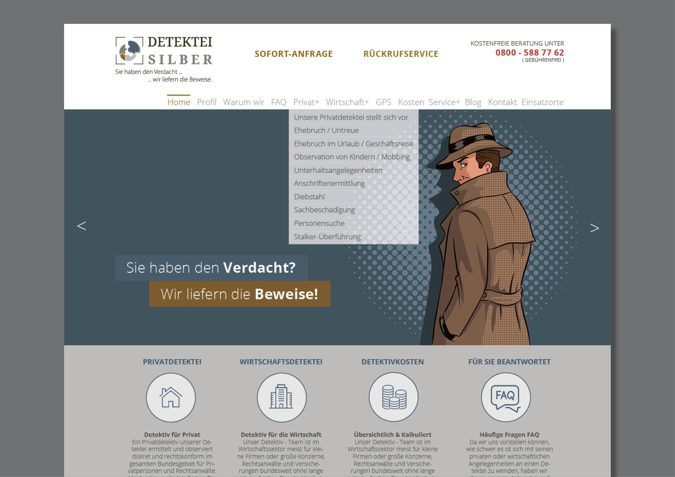 Webdesign und Programmierung einer Homepage für die Wirtschafts- und Privat-Detektei Silber durch Ronald Wissler Visuelle Kommunikation