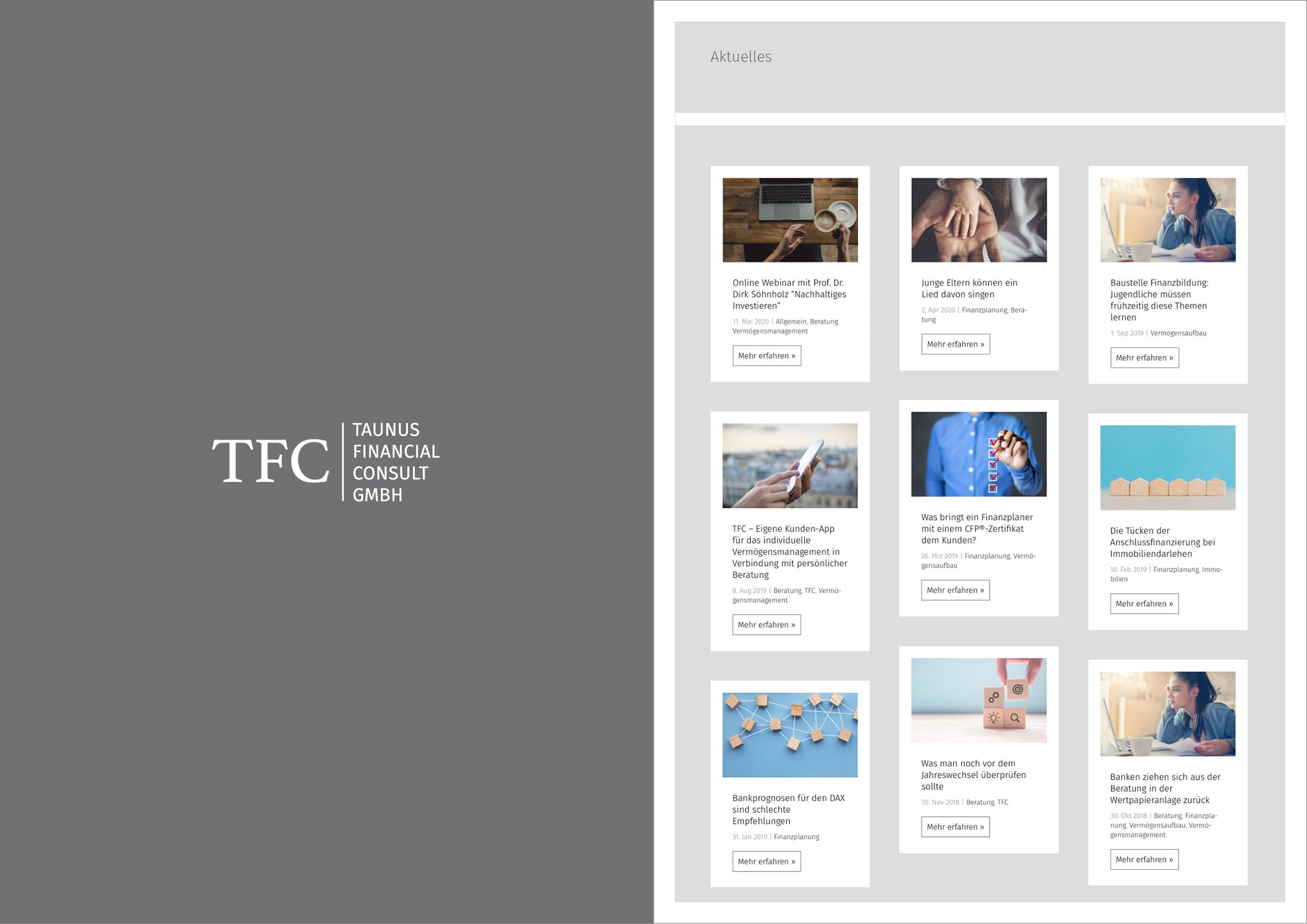 Homepage Entwicklung für die unabhängige und eigentümergeführte Vermögensplanungsgesellschaft TFC Taunus Financial Consult GmbH durch Webdesigner Ronald Wissler Frankfurt