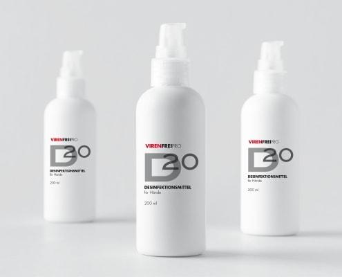 Logodesign und Webdesign Entwicklung Onlineshop für Desinfektionsmittel VirenfreiPro