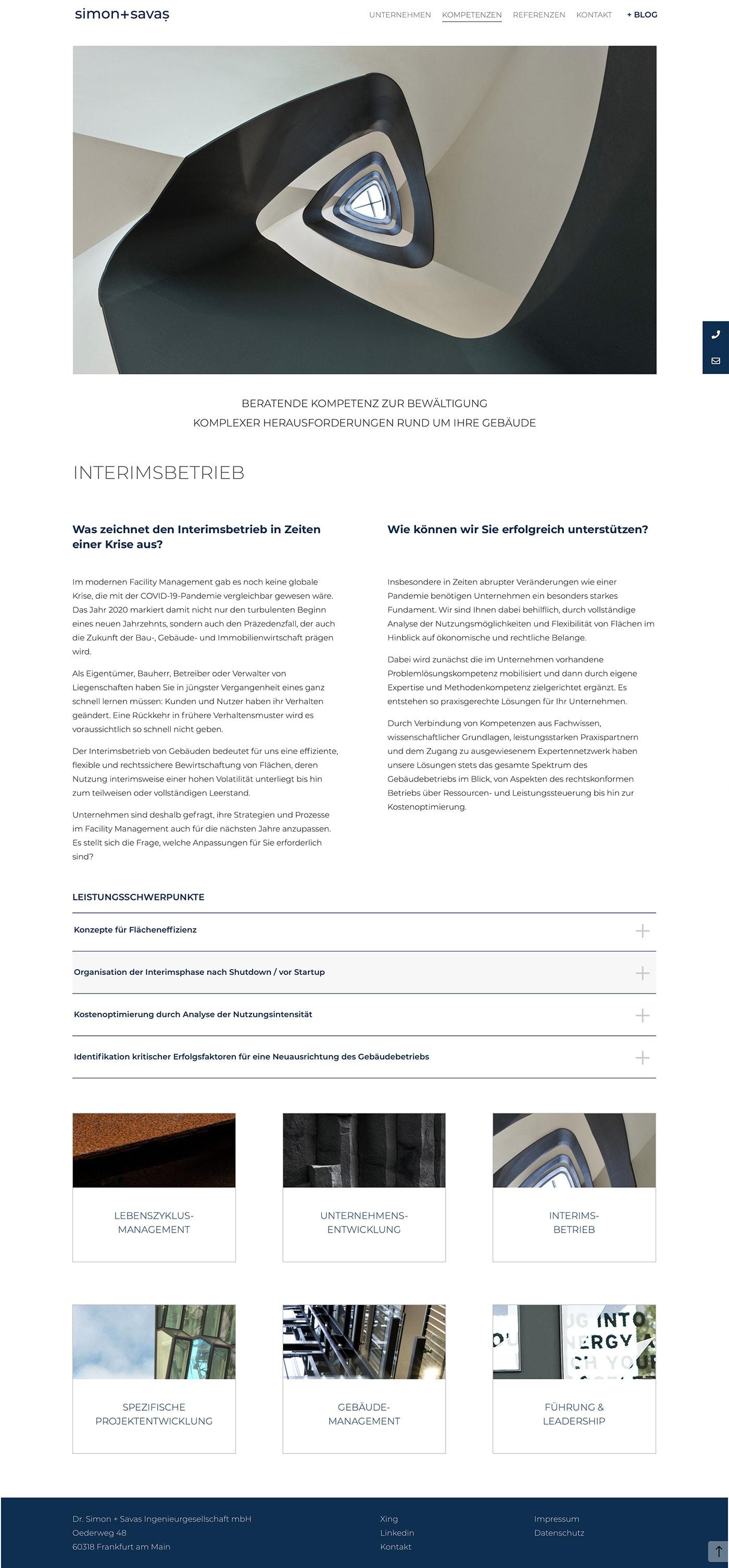 Webdesign und Programmierung der Unternehmenshomepage für Ingenieurgesellschaft und Unternehmensberatung Dr. Simon + Savaş Ingenieurgesellschaft mbH durch Ronald Wissler Visuelle Kommunikation
