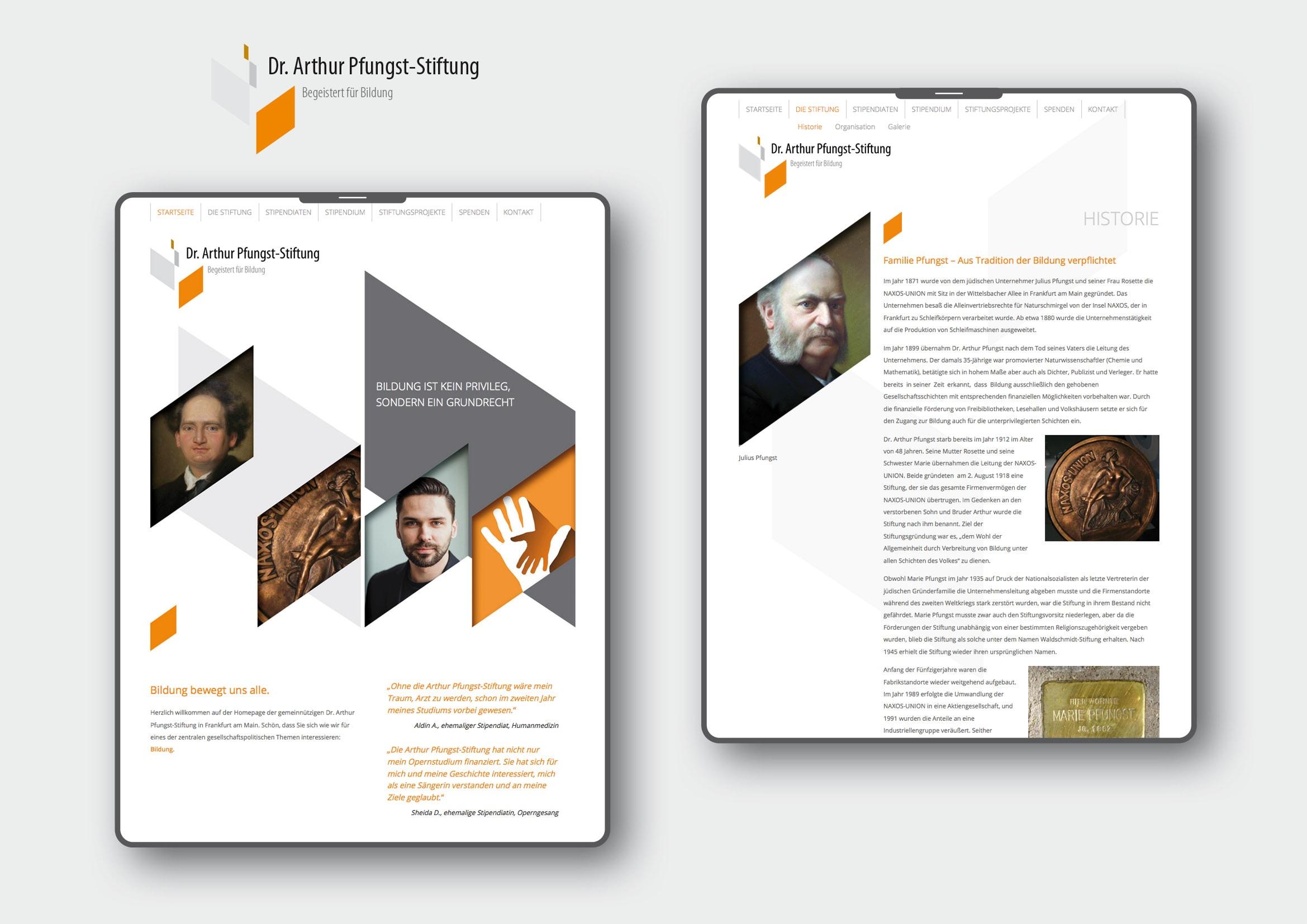 Corporate Design und Homepage Entwicklung für Dr. Arthur Pfungst-Stiftung durch Webdesigner Ronald Wissler