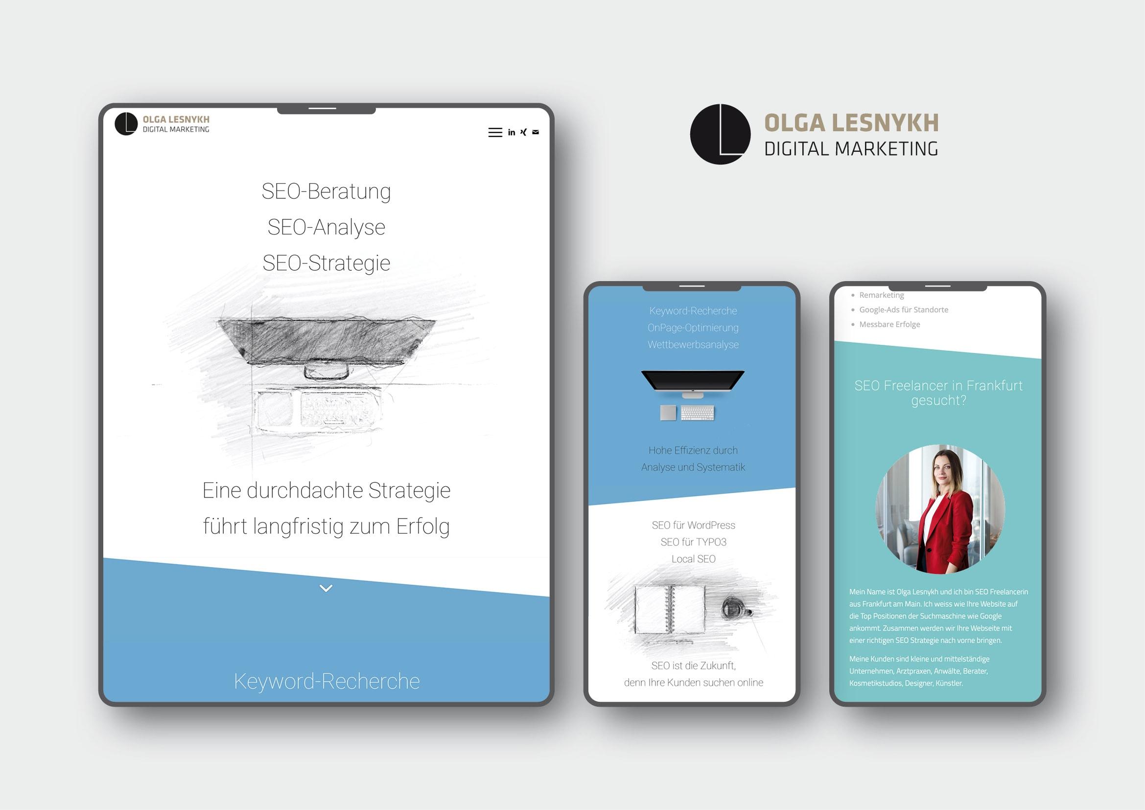 Homepage, Logo und Corporate Design Entwicklung für SEO Freelancer Olga Lesnykh Frankfurt durch Webdesigner Ronald Wissler