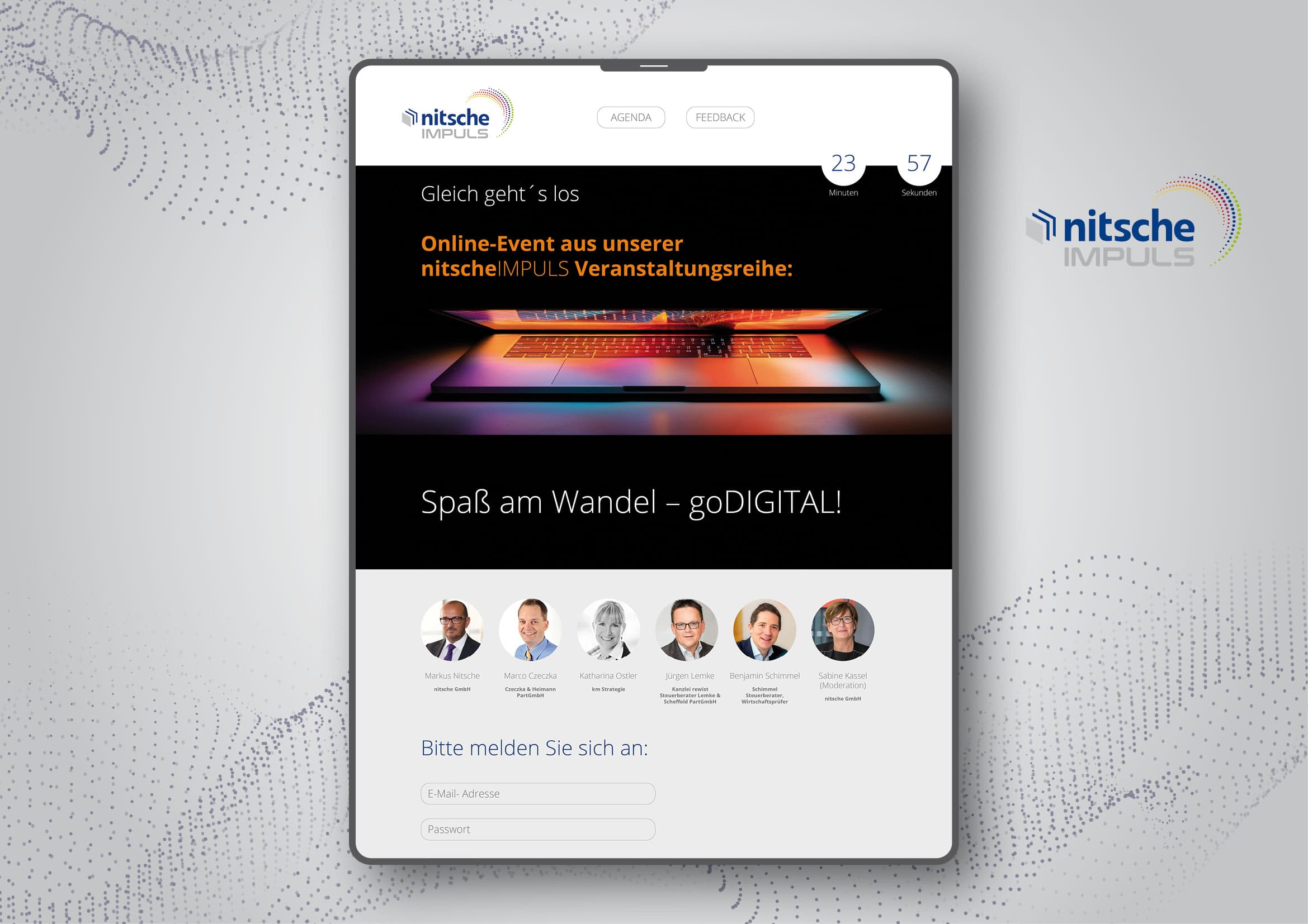 Entwicklung von Logo und Screendesign für Online-Event