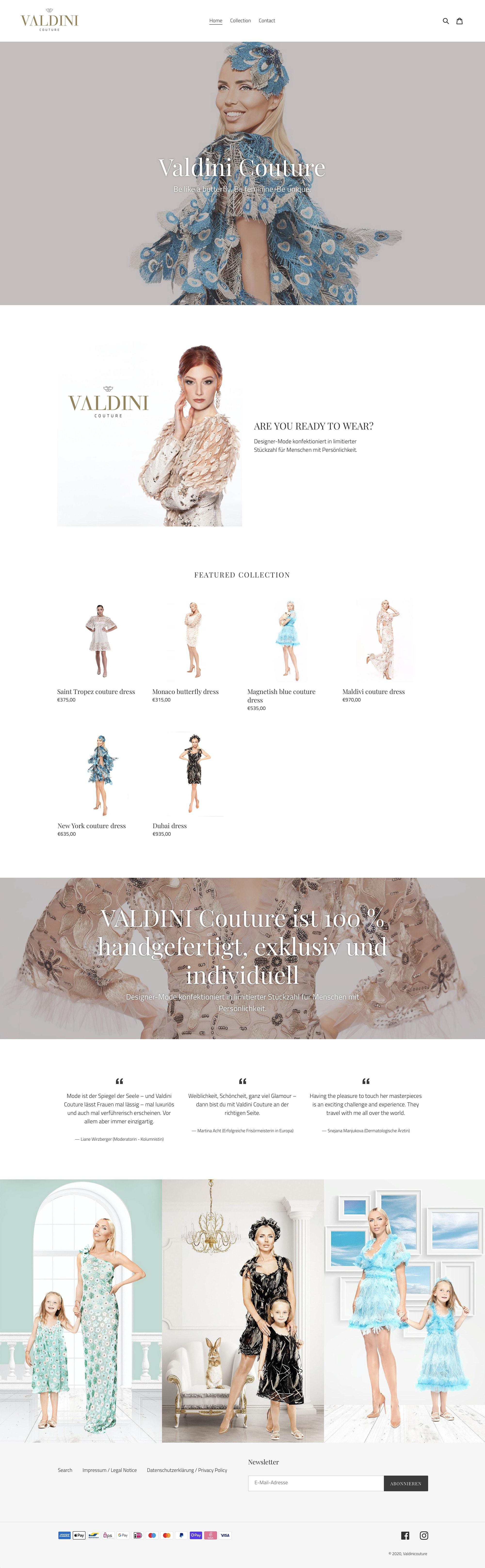 Webdesign und Erstellung Onlineshop für die Mode-Marke Valdini Couture