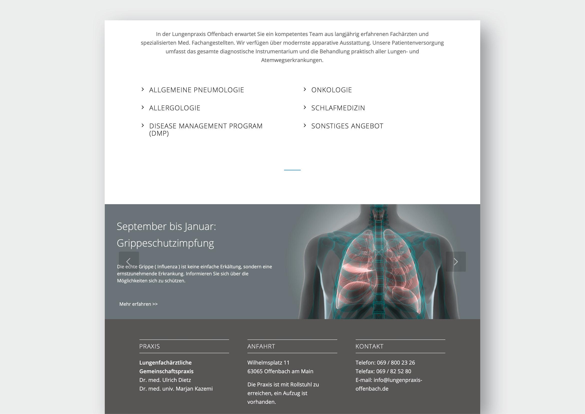 Webdesign und Programmierung einer modernen Praxishomepage, sowie Corporate Design Entwicklung für das Lungenzentrum Offenbach durch Ronald Wissler Visuelle Kommunikation