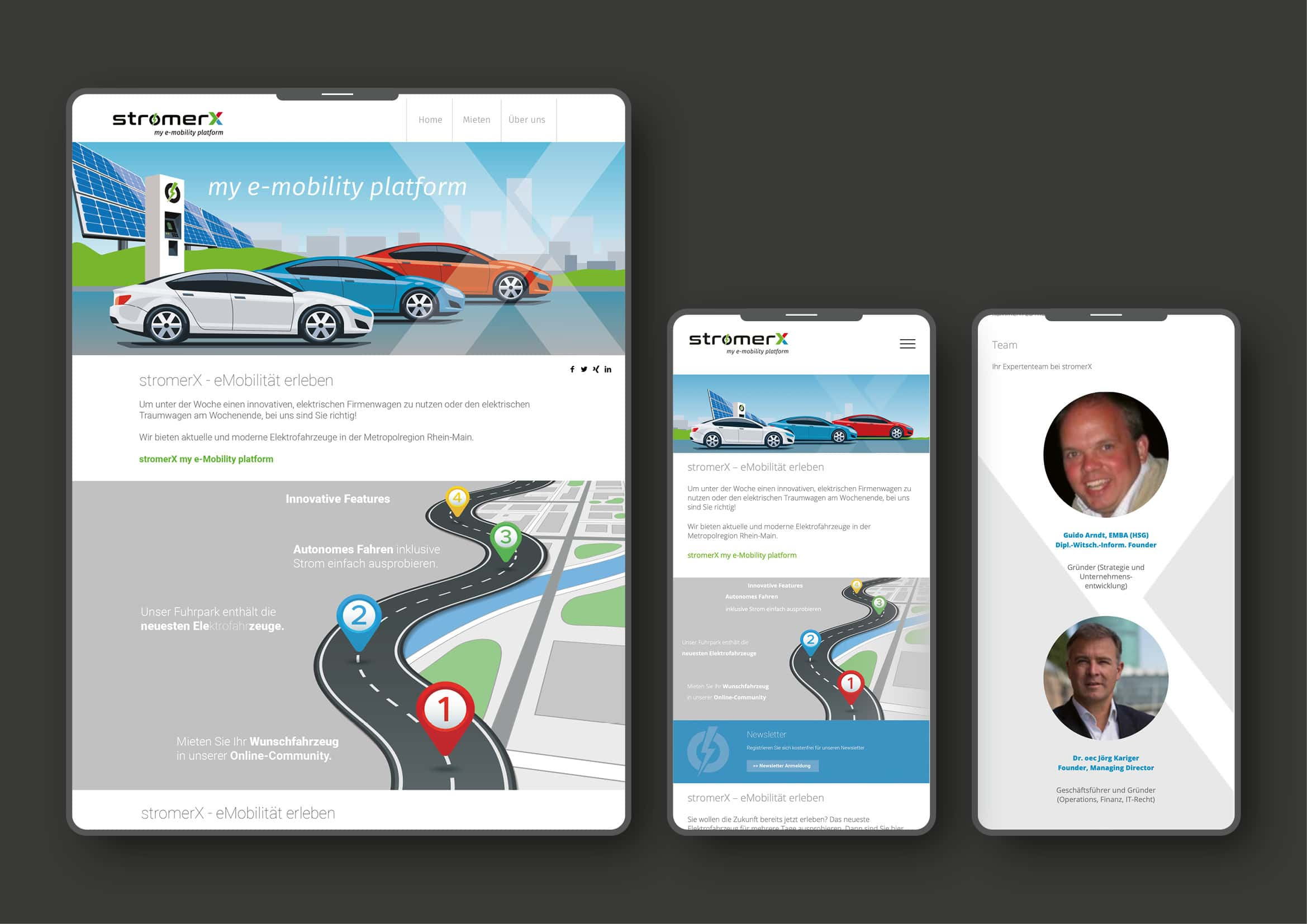 Corporate Design und Webdesign und Entwicklung für E-Mobilität Internet Plattform StromerX durch Ronald Wissler Visuelle Kommunikation