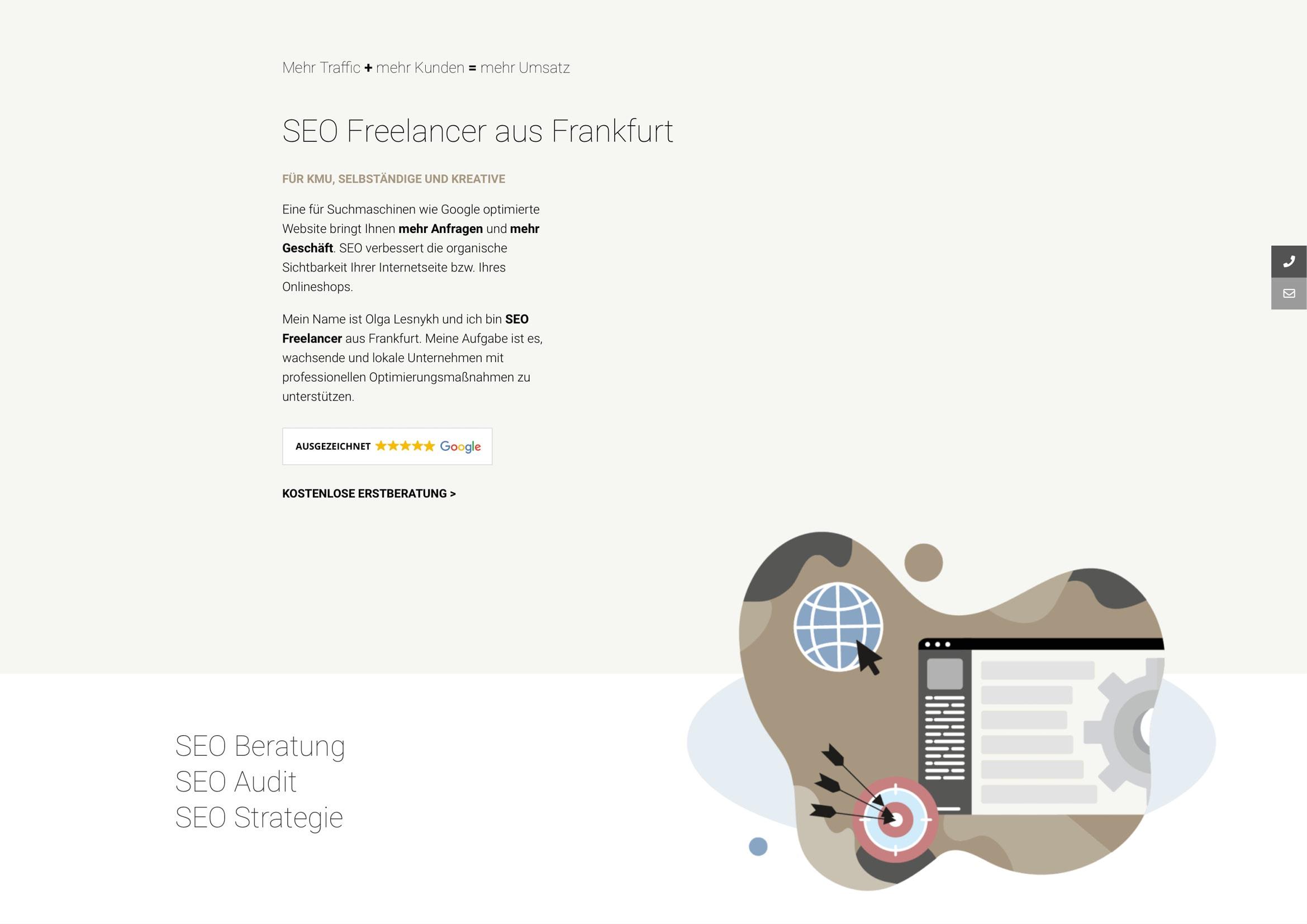 Homepage, Logo und Corporate Design Entwicklung für Olga Lesnykh Digital Marketing / SEO Freelancer Frankfurt durch Webdesigner Ronald Wissler