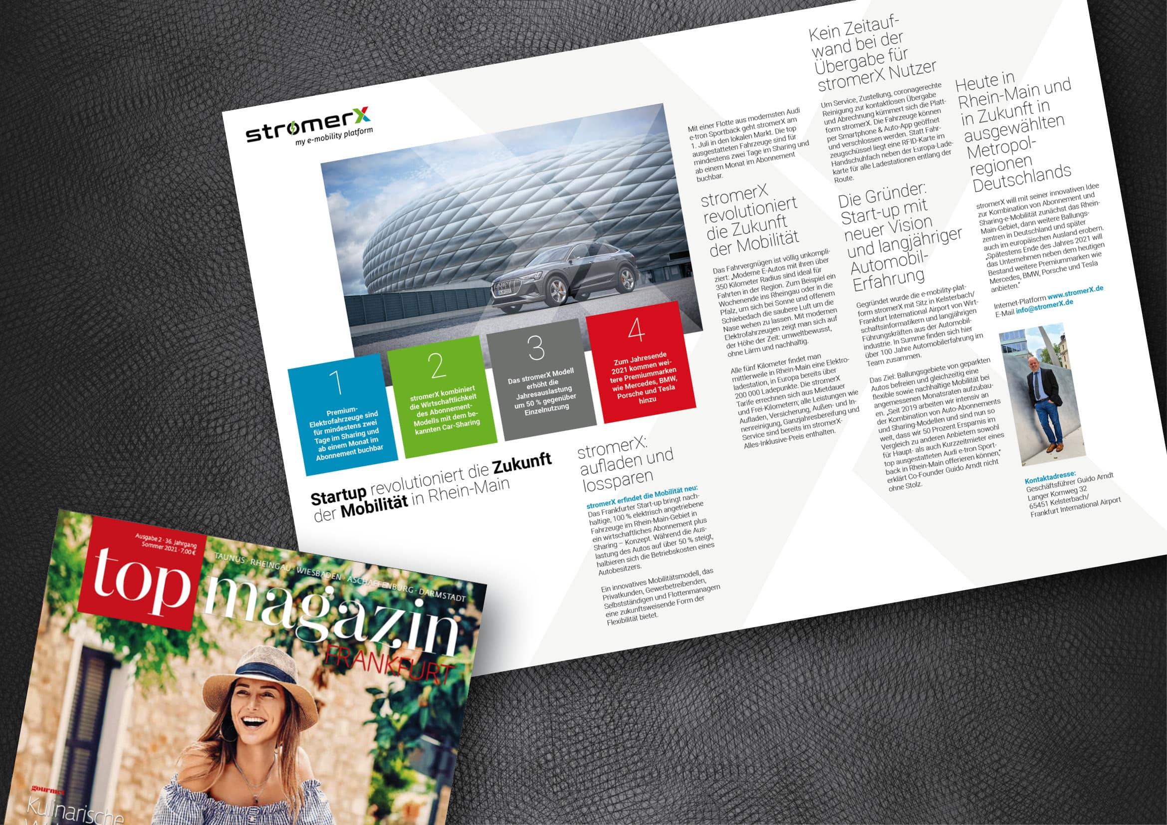 Anzeigenmotiv für Start-up innovativer E-Mobilität im Top Magazin Frankfurt