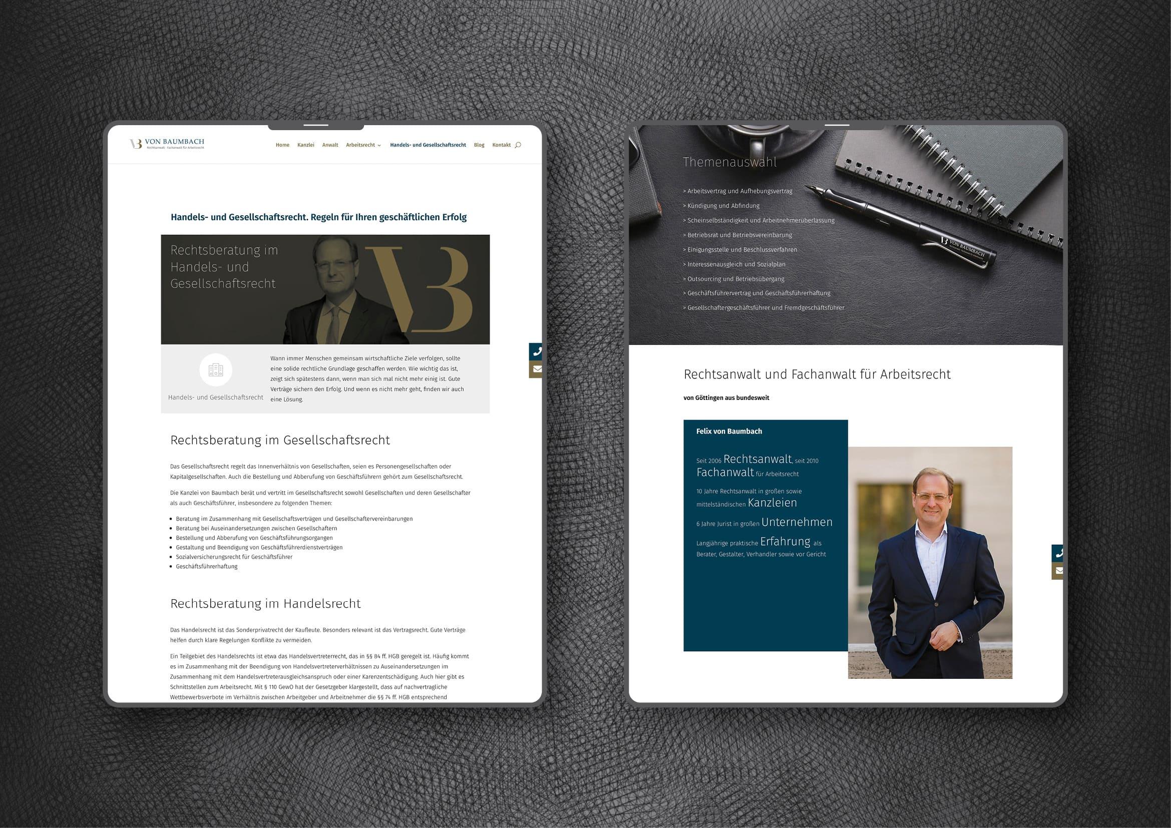 Webdesign Entwicklung und technische Umsetzung Homepage für Anwaltskanzlei