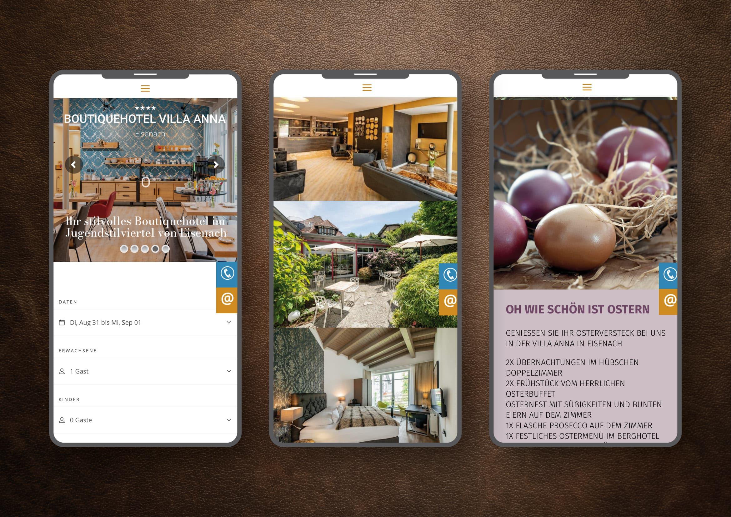 Webdesign und technische Umsetzung Homepage für einzigartiges Boutiquehotel in Eisenach