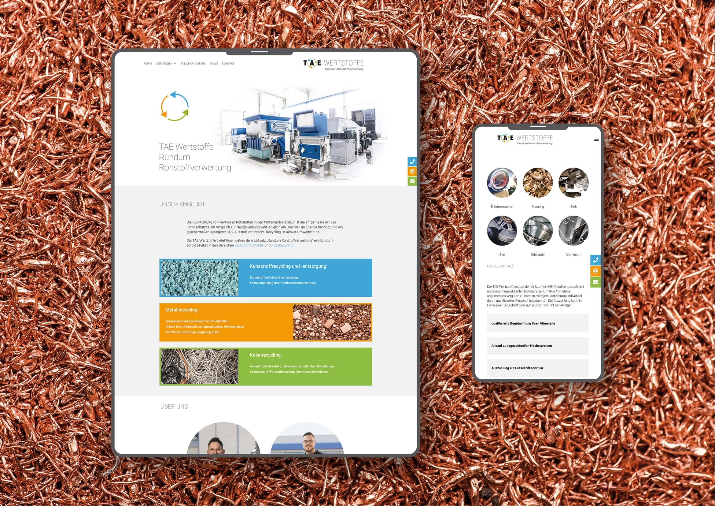New Business: Corporate Design, Webdesign und technische Umsetzung Homepage Recyclingunternehmen